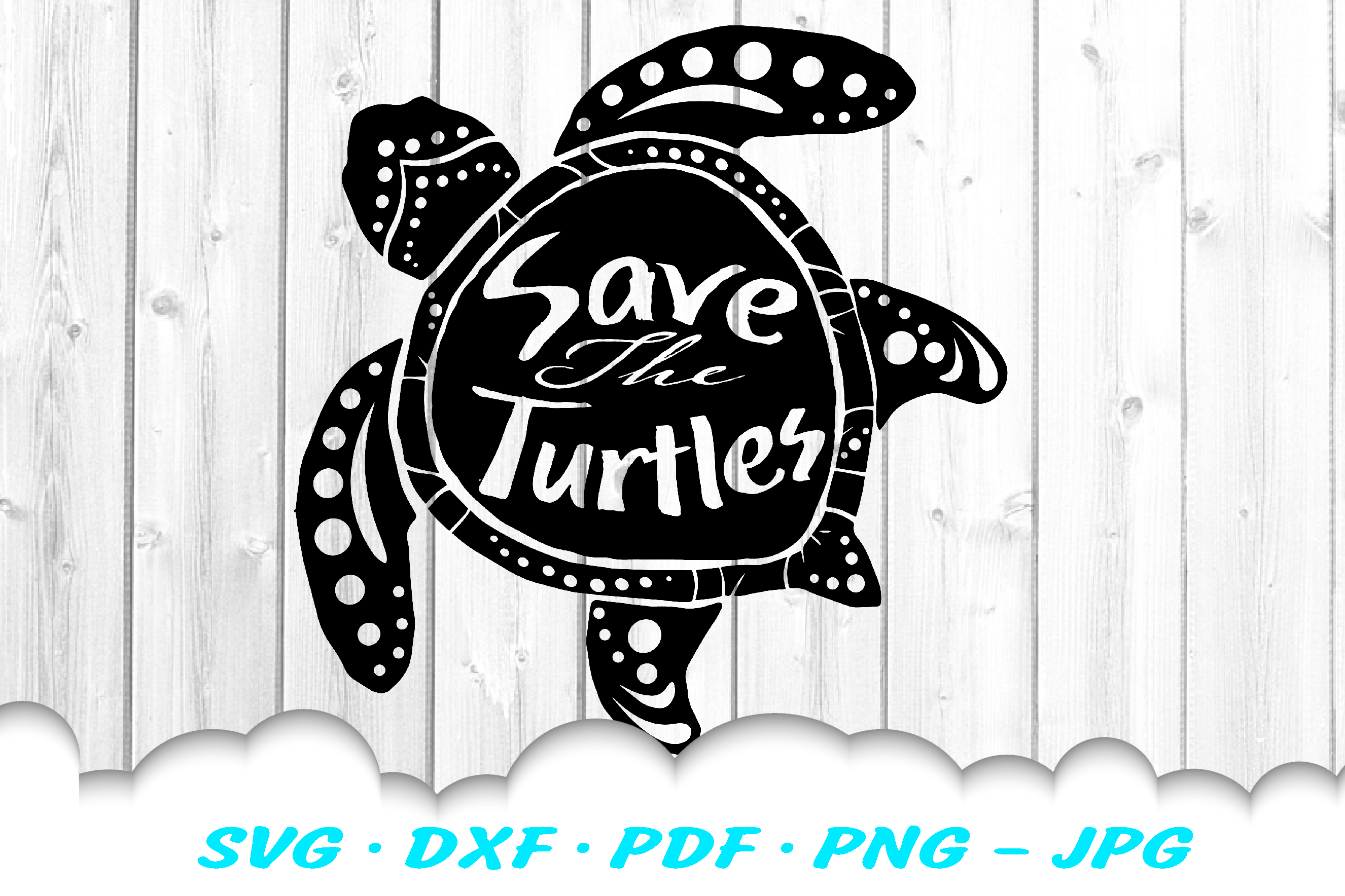 Sea Turtle Save The Turtles SVG DXF Cut Files example image 2