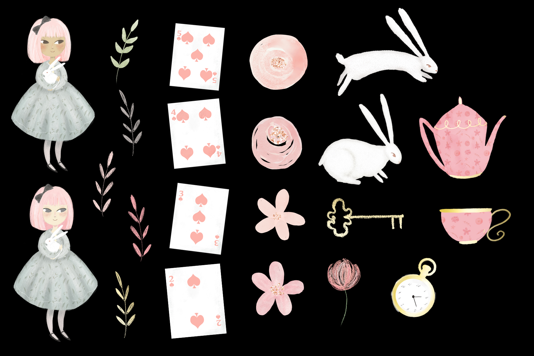 Alice in Wonderland Illustrations Clipart example image 3