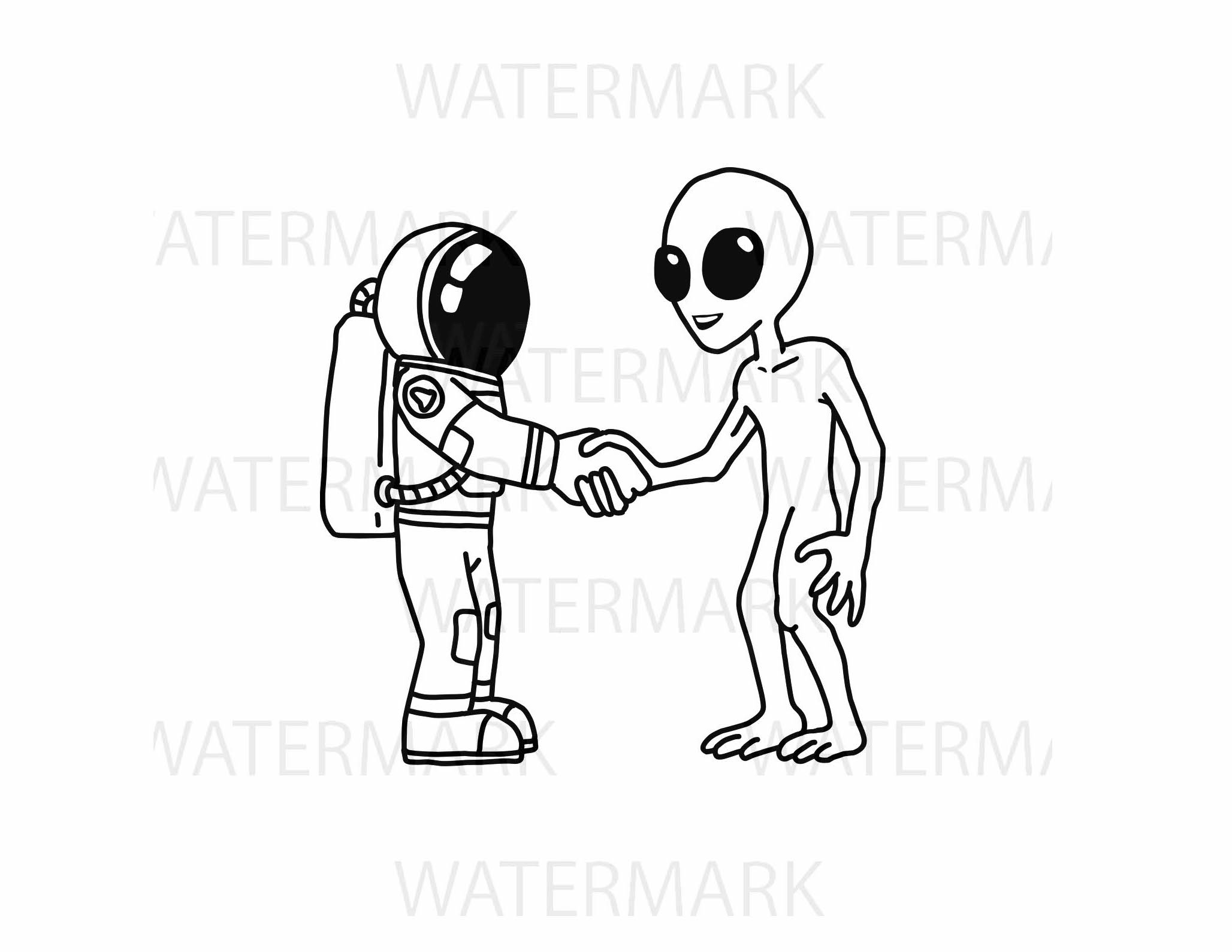 Astronaut handshake with an alien for peace - SVG/JPG/PNG Hand Drawing example image 1