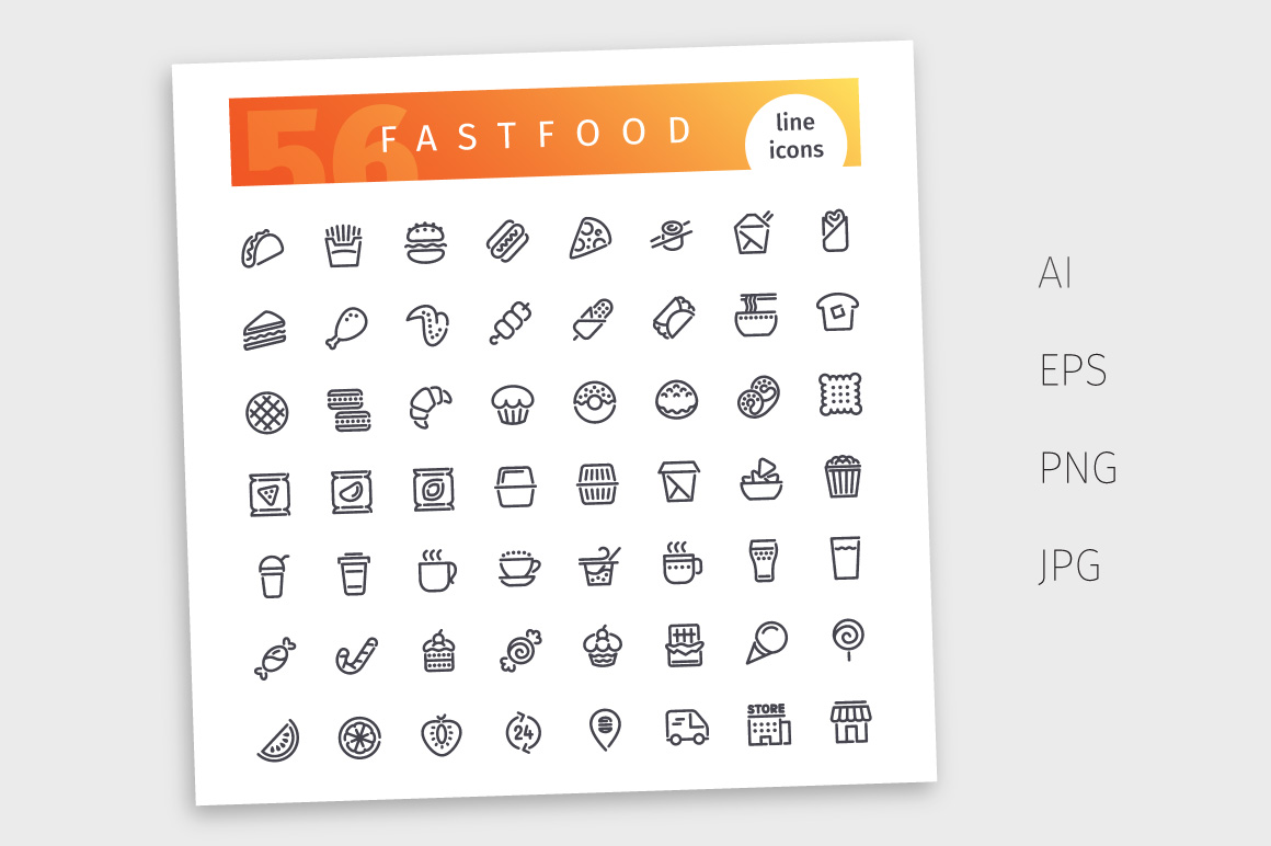Fastfood Line Icons Set example image 4