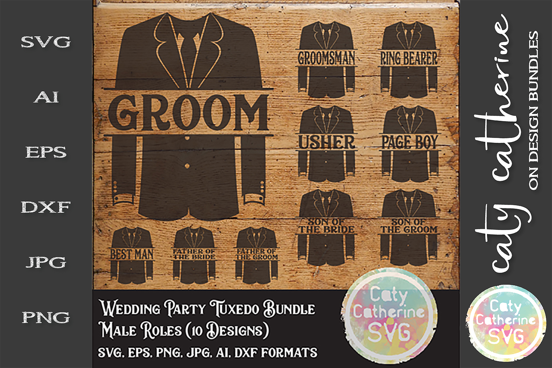 Wedding Party Male Roles Tuxedo Bundle SVG Cut File example image 2