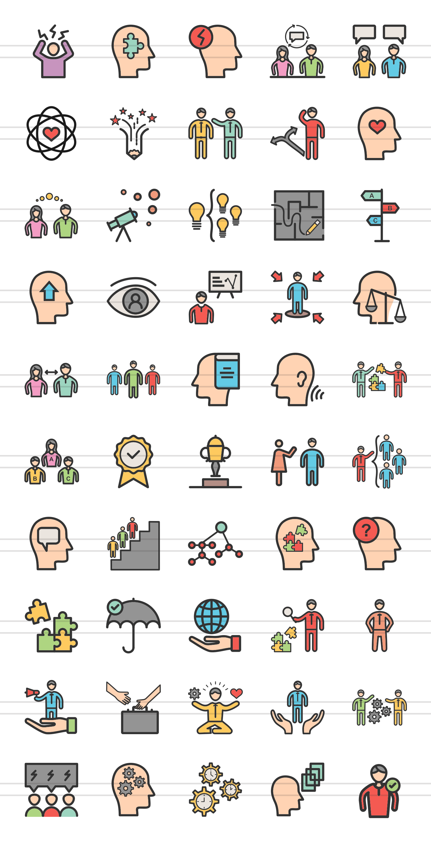 50 Soft Skills Linear Multicolor Icons example image 2