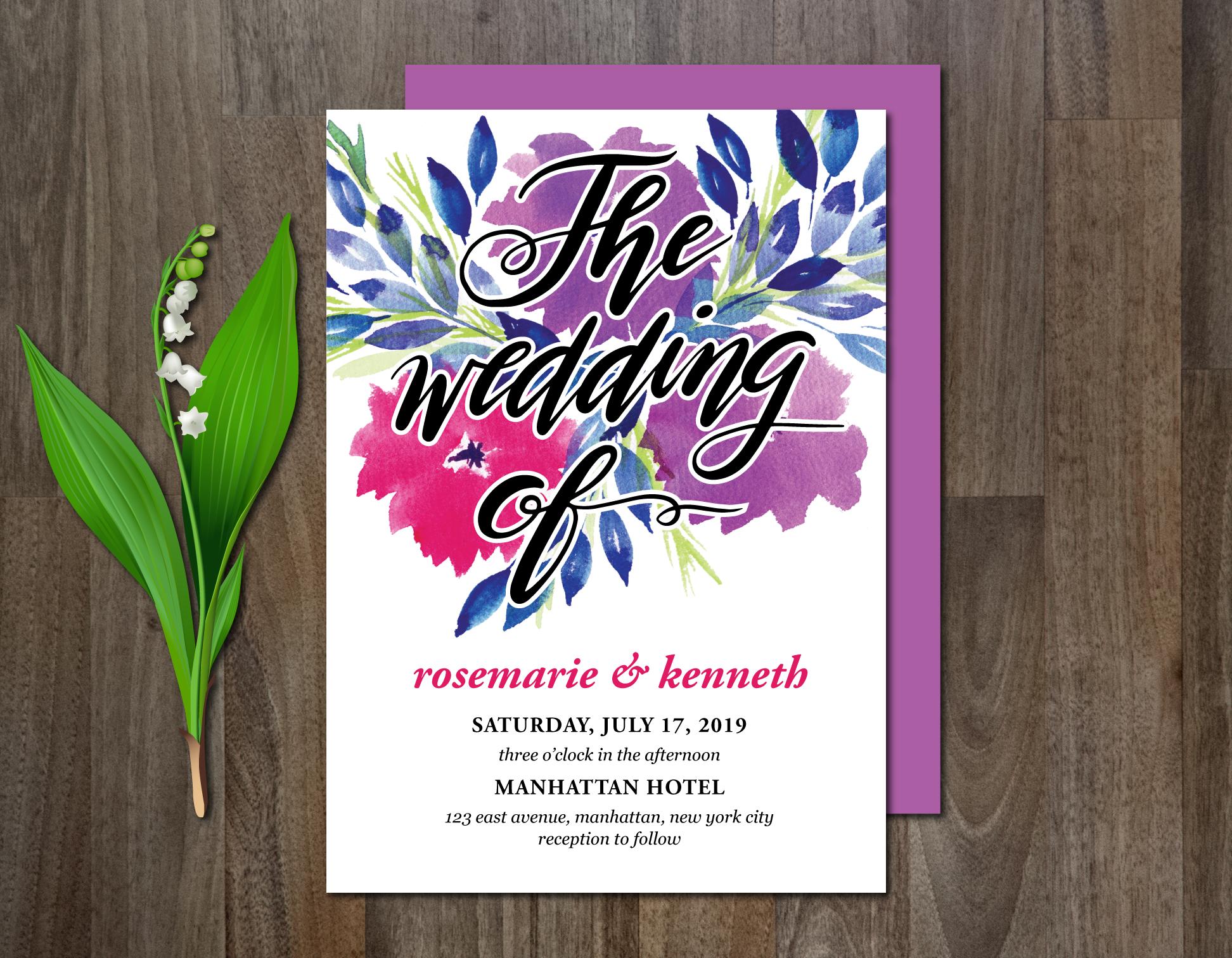 Watercolor Flowers Wedding Suite example image 2