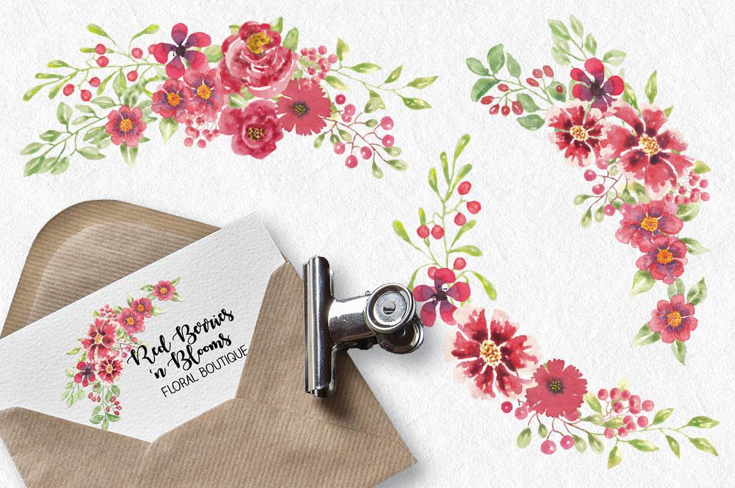 Watercolor clip art bundle: red berries 'n blooms example image 6