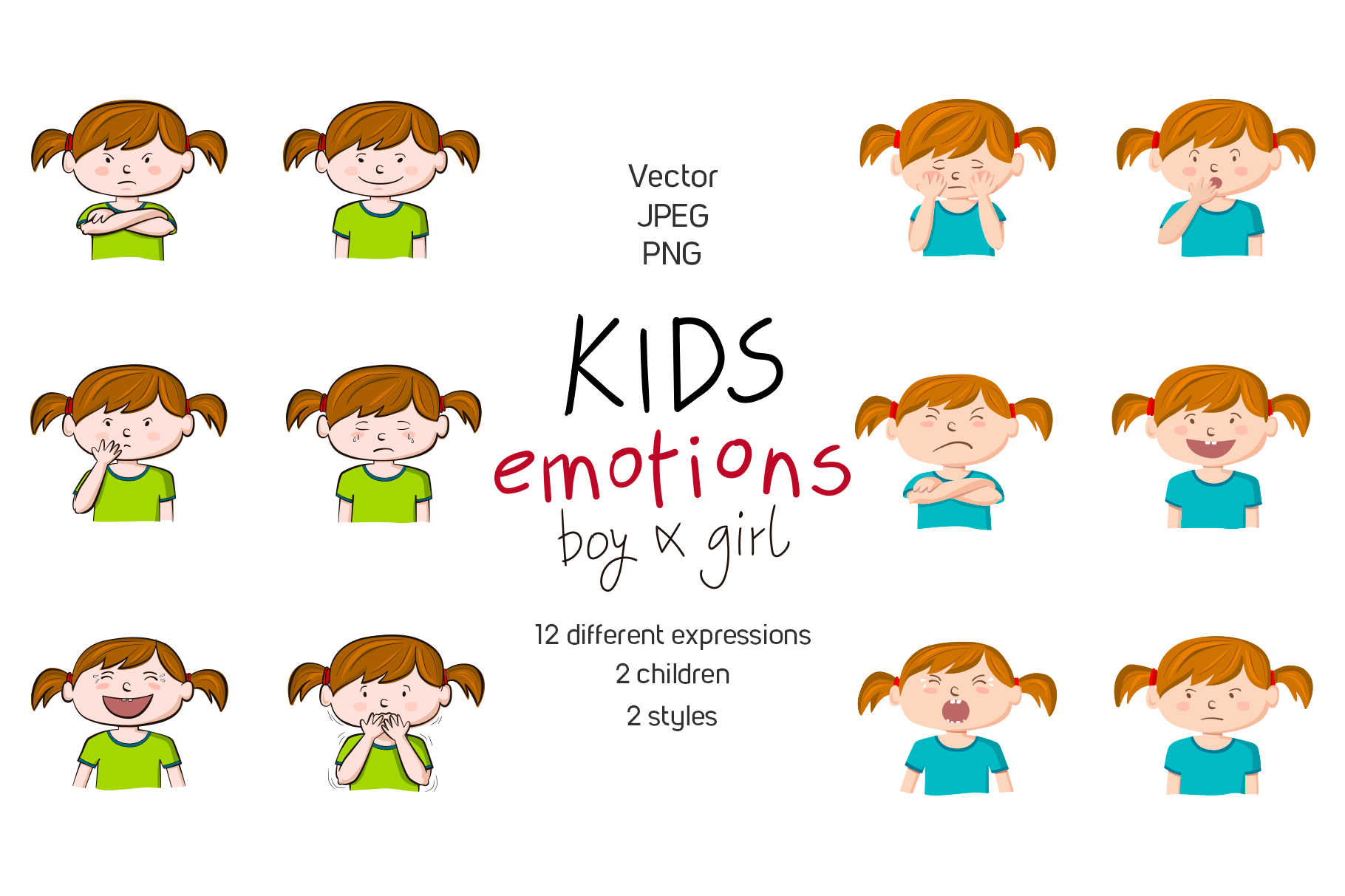 Kids emotions vector illustrations example image 2