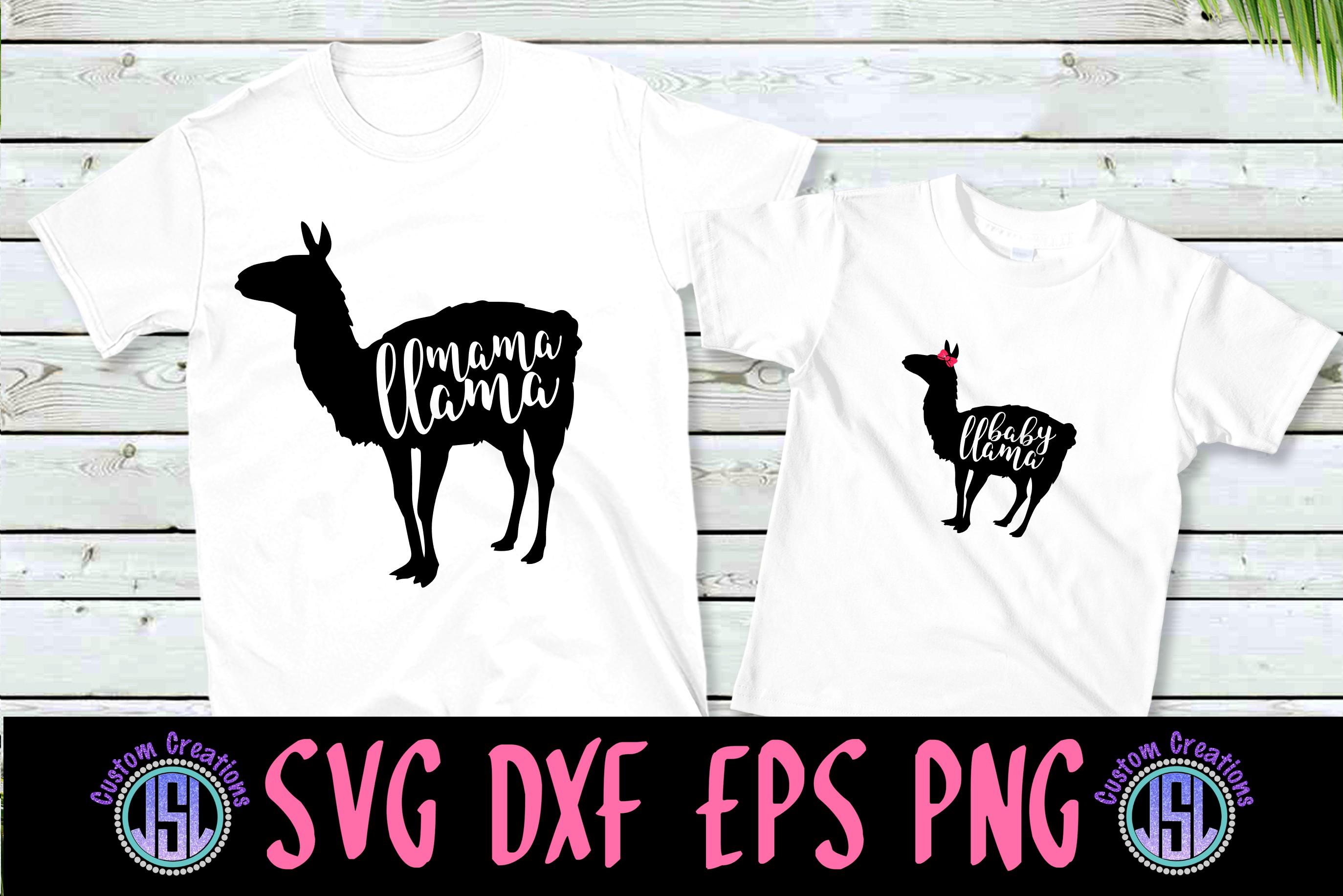 Mama & Baby Girl Llama Set of 2 | SVG DXF EPS PNG Cut Files example image 1
