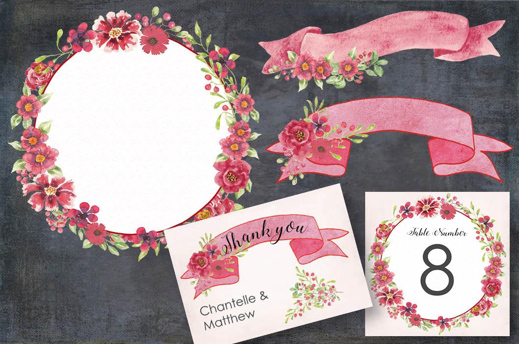 Watercolor clip art bundle: red berries 'n blooms example image 5