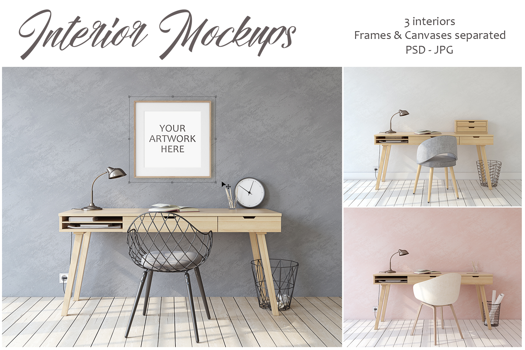 Home office. Frames&Canvases Mockup. example image 1