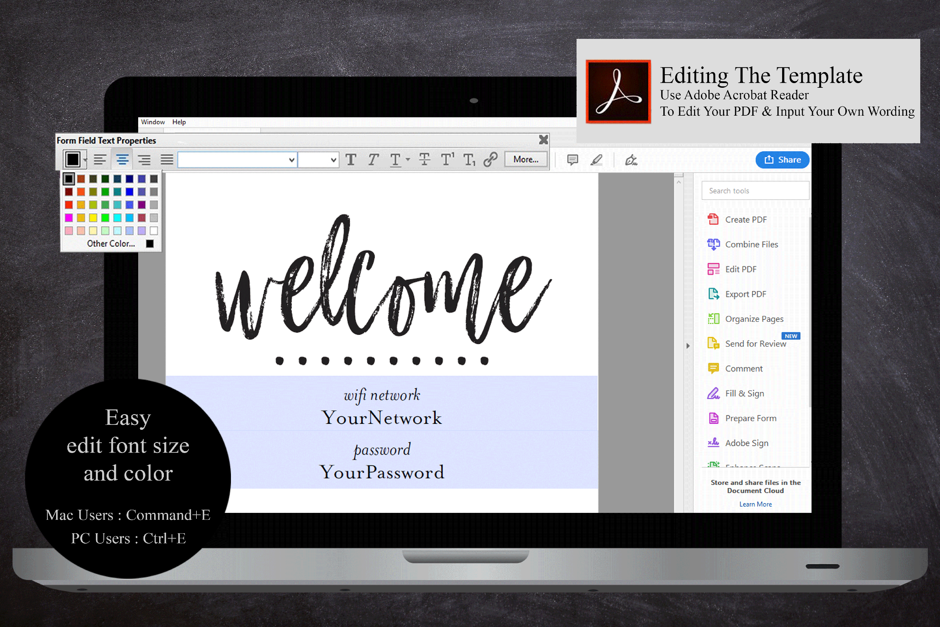 wifi password printable sign guest room sign welcome example image 5