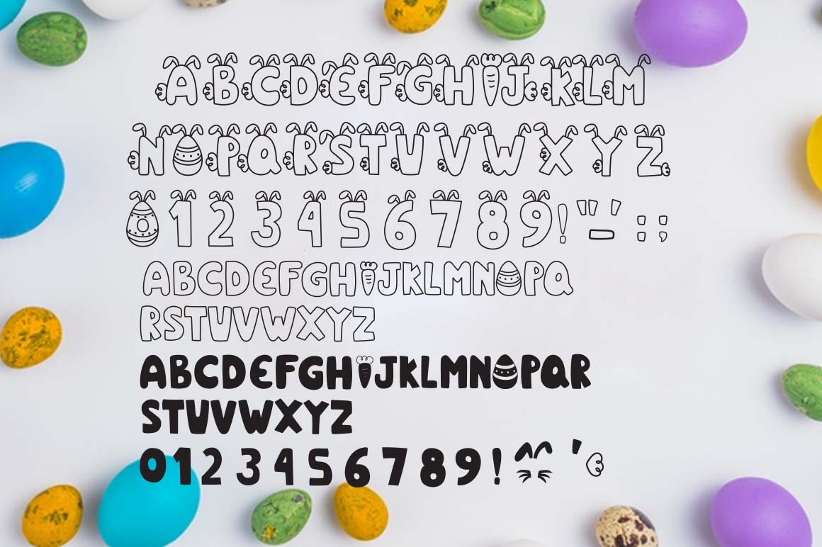 Little bunny font with easter doodles example image 4