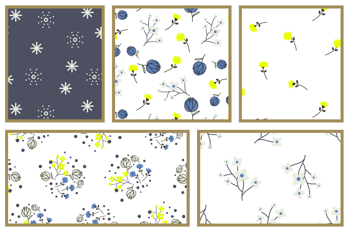 Blue Meadow Floral Patterns example image 4
