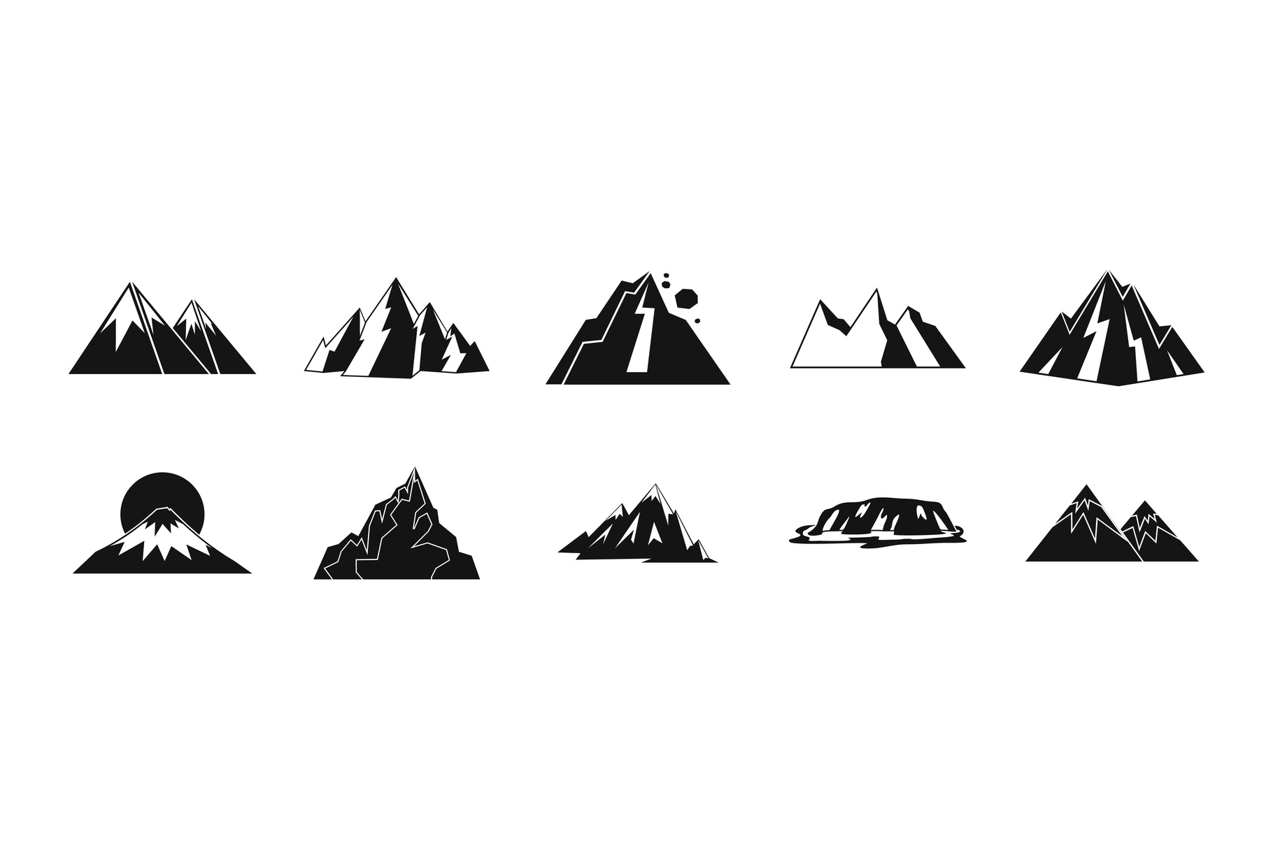 Mountain icon set, simple style example image 1