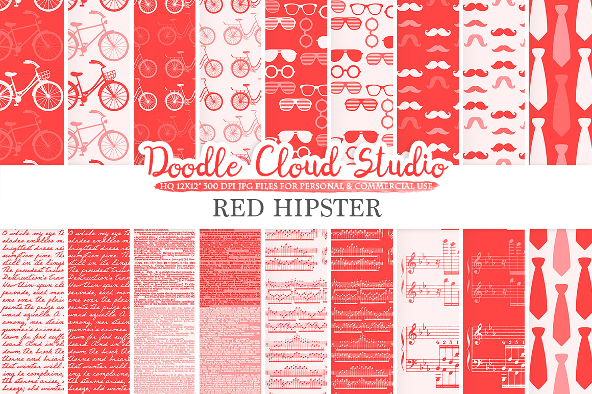 Red Hipster digital paper, Vintage Father's day tie mustaches bikes music glasses plaid pattern Instant Download Personal & Commercial Use example image 1
