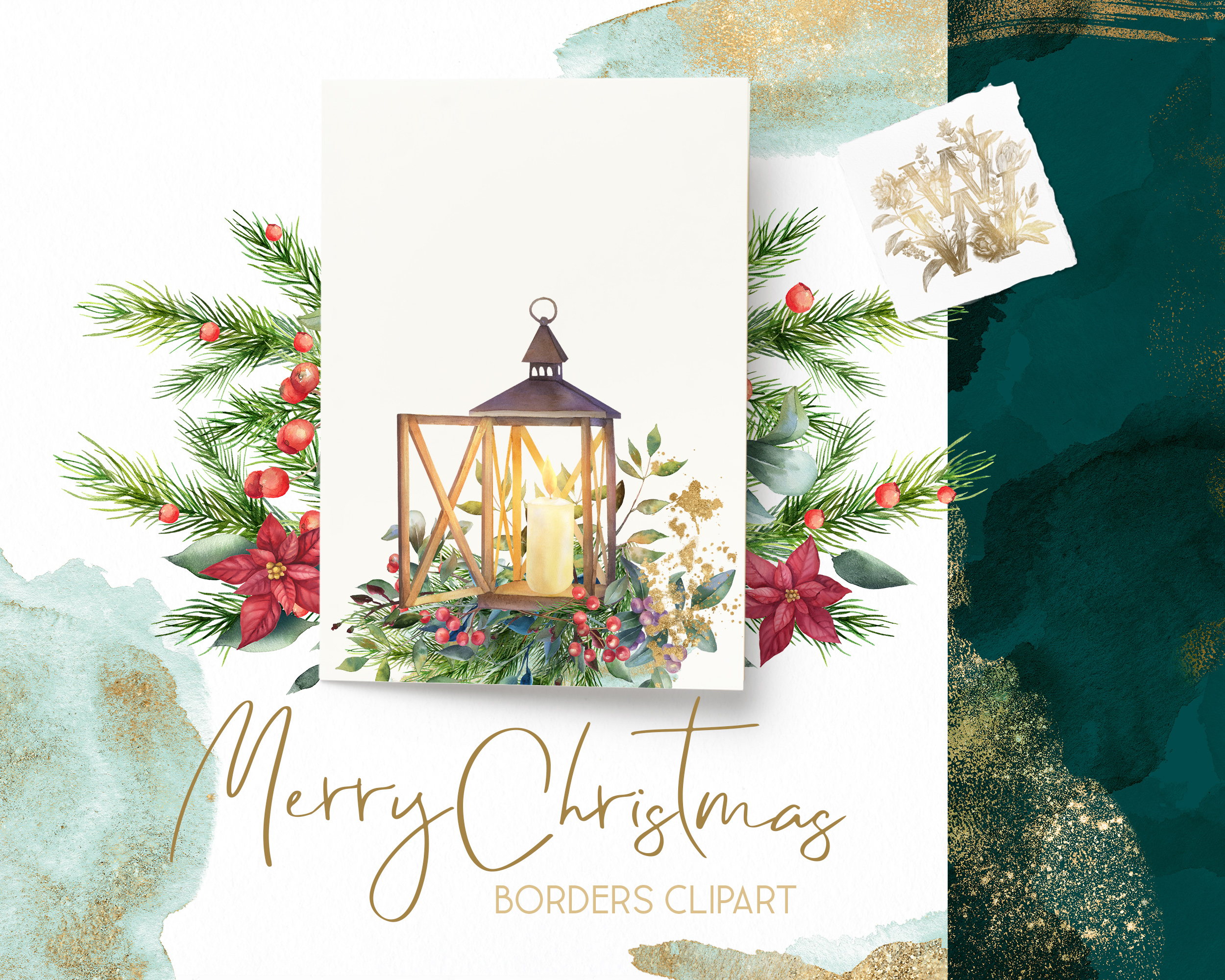 Christmas watercolor border, Poinsettia wedding Bouquet png example image 9
