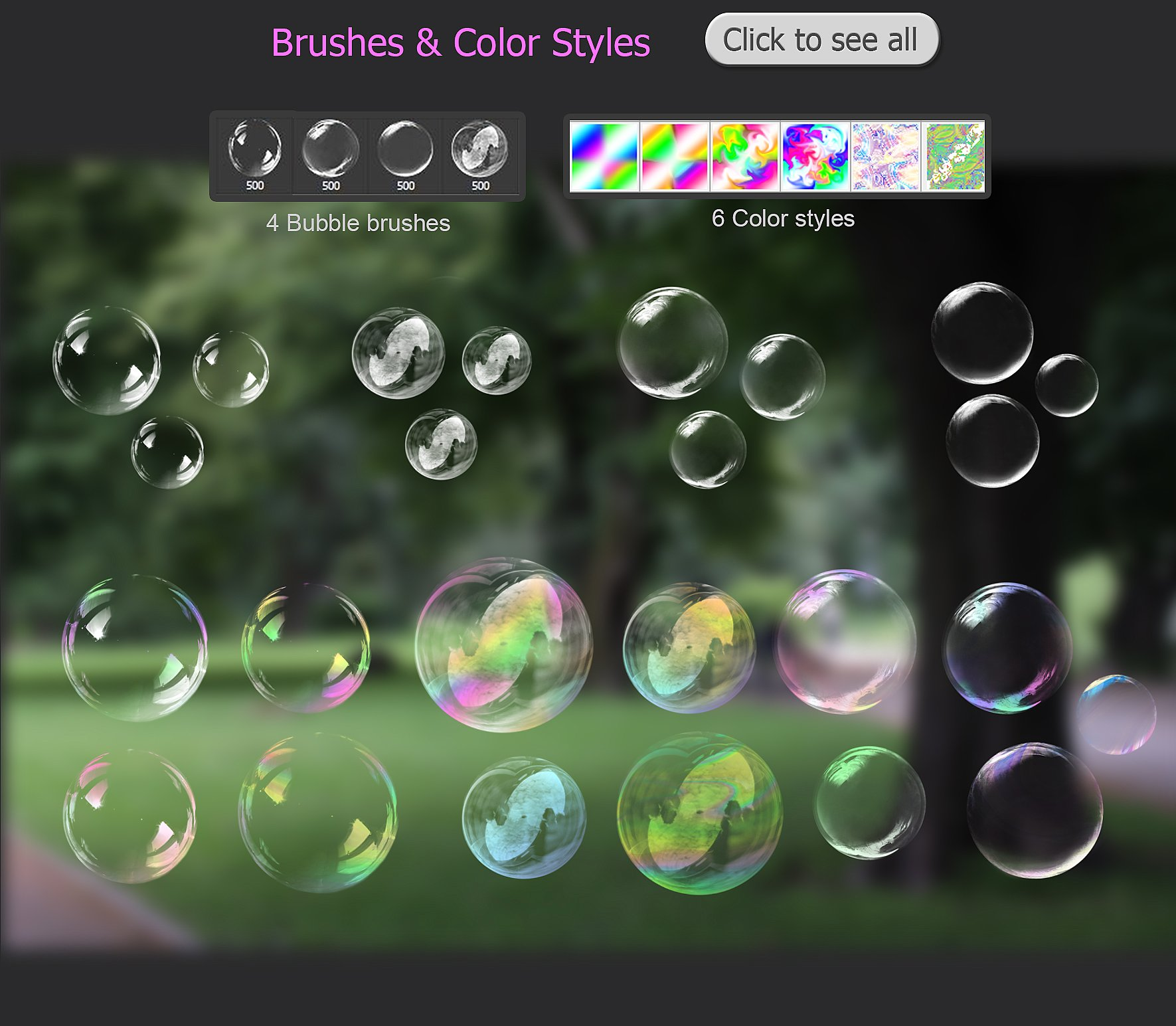Transparent Bubble overlays  brushes  styles example image 4