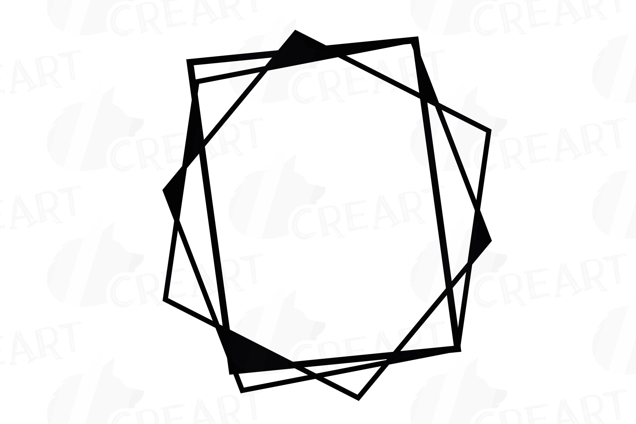 Chaotic geometric black frames, lineal frames clip art example image 11