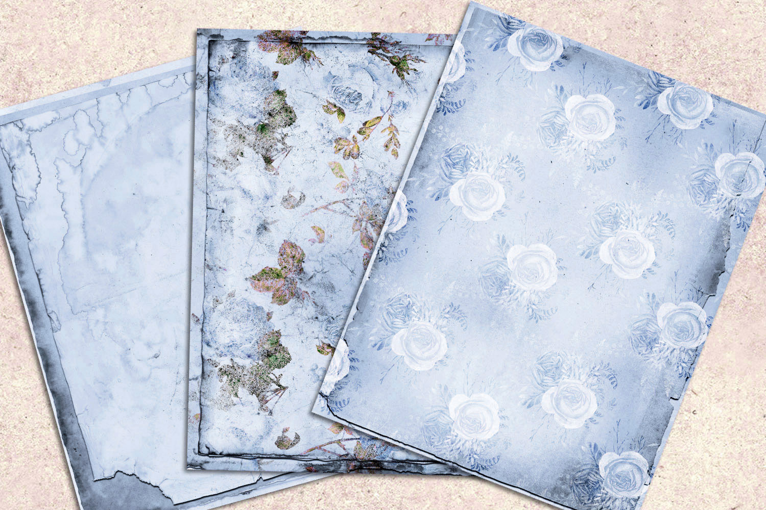 Blue Shabby Notebook Paper example image 2