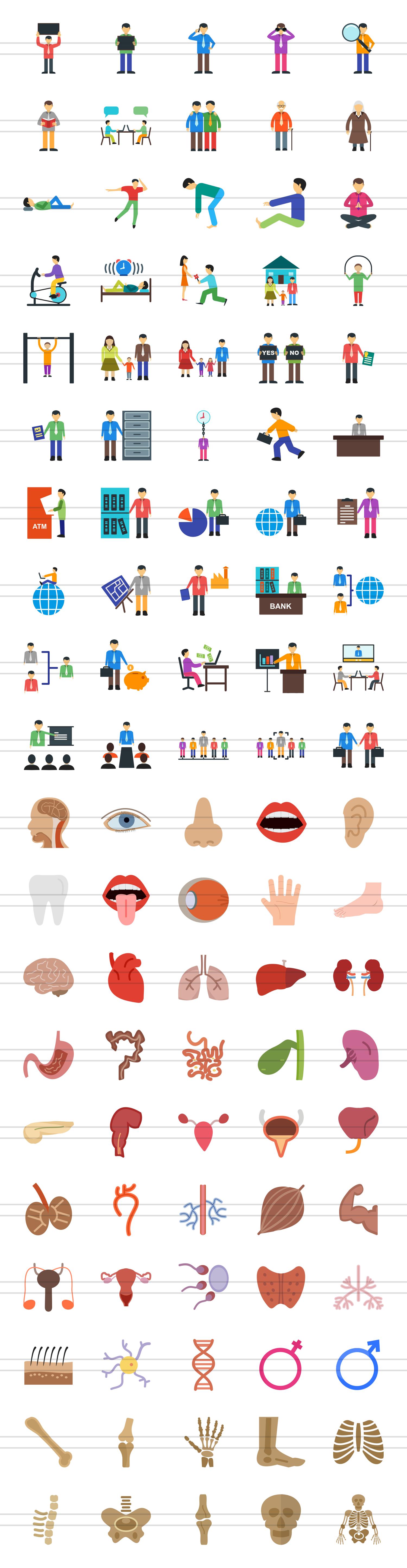 100 Humans & Anatomy Flat Icons example image 2