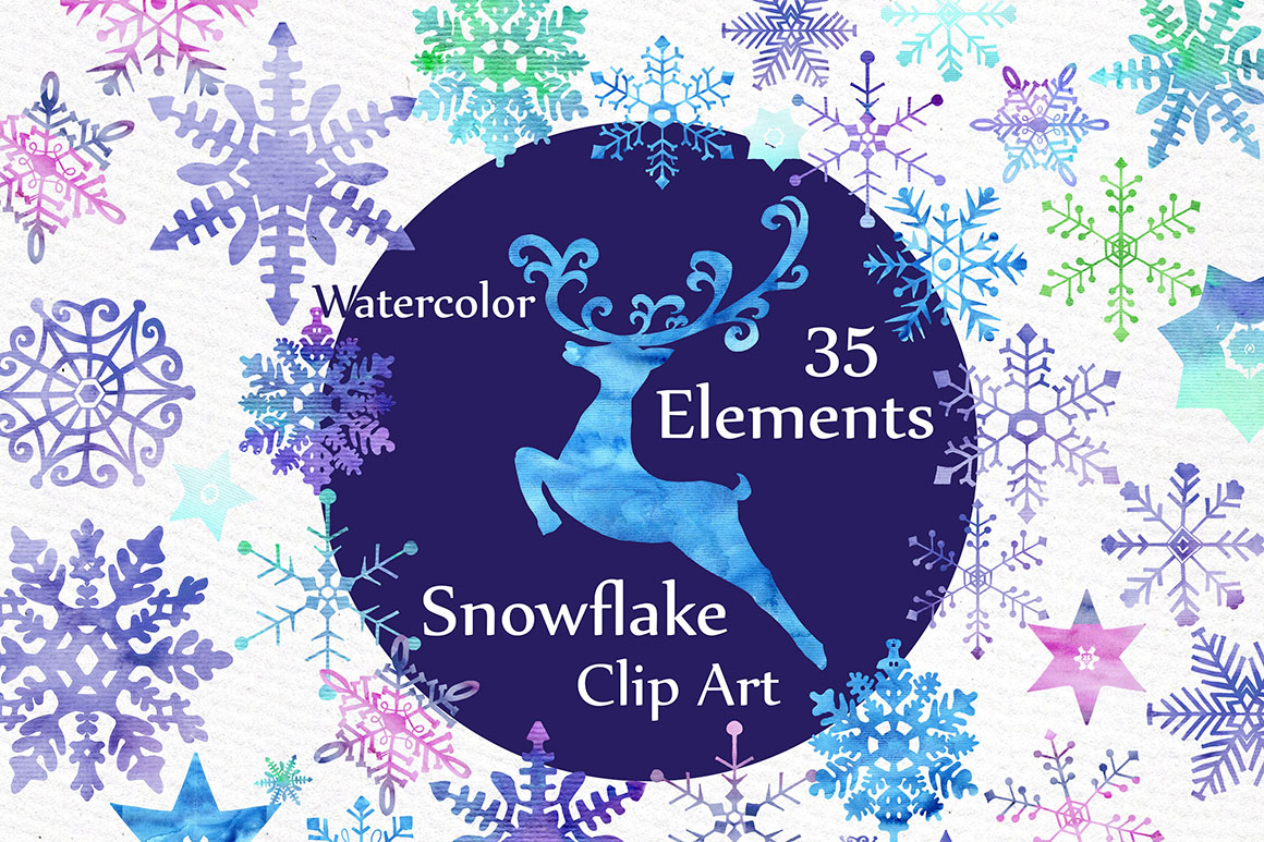 Watercolor snowflake clipart example image 1