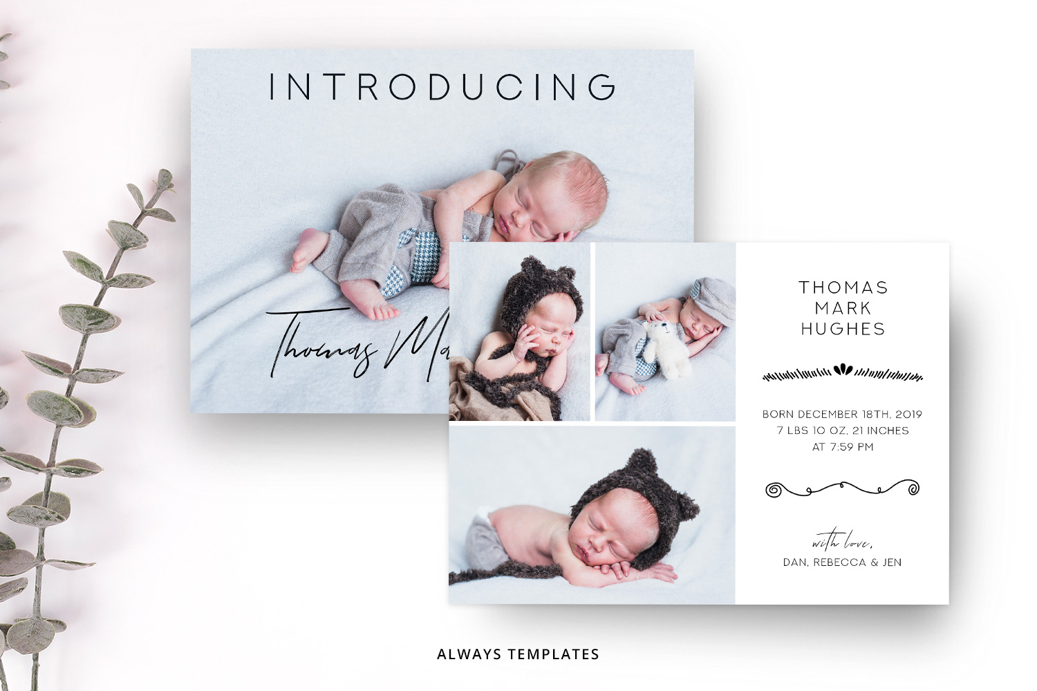 Birth Announcement Template BA007 example image 2
