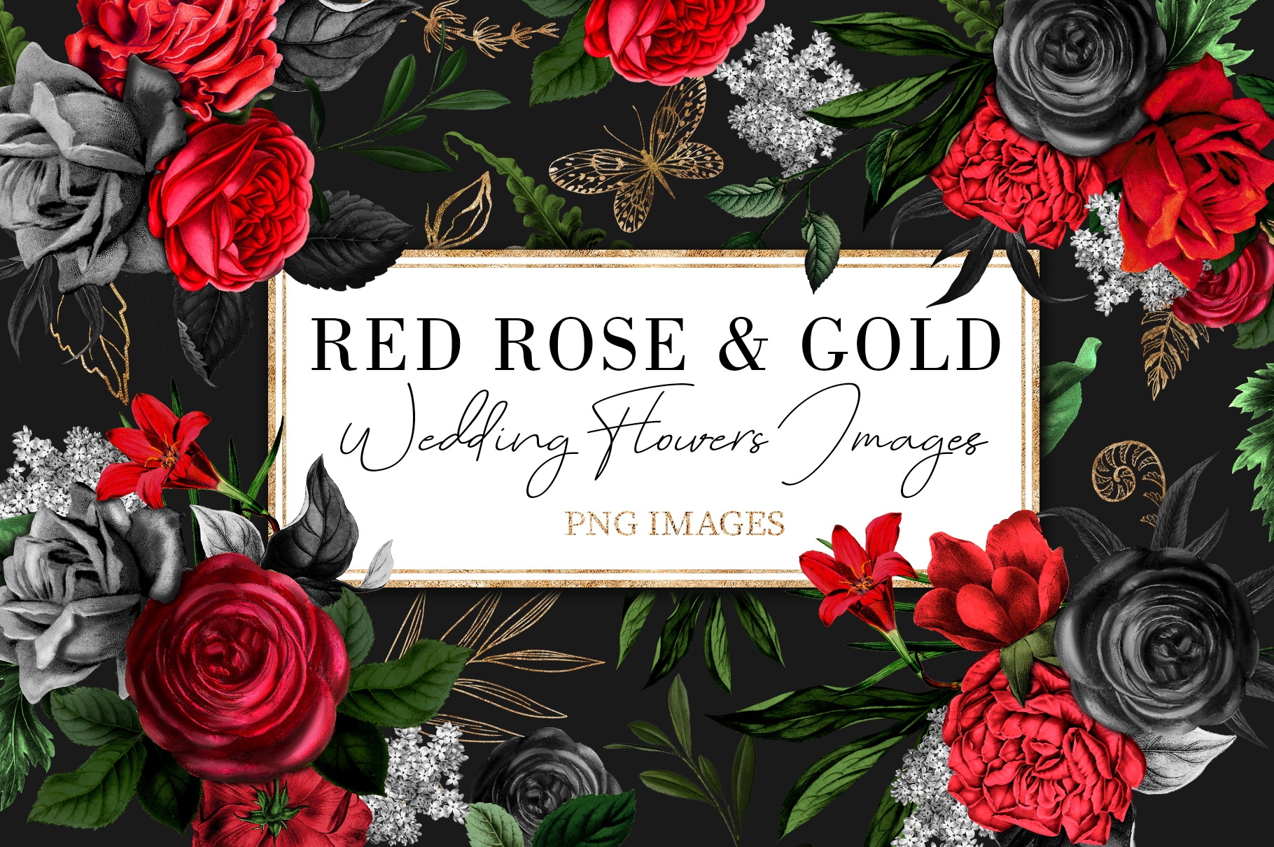 Red Flowers and Gold| Roses vintage and gold example image 1