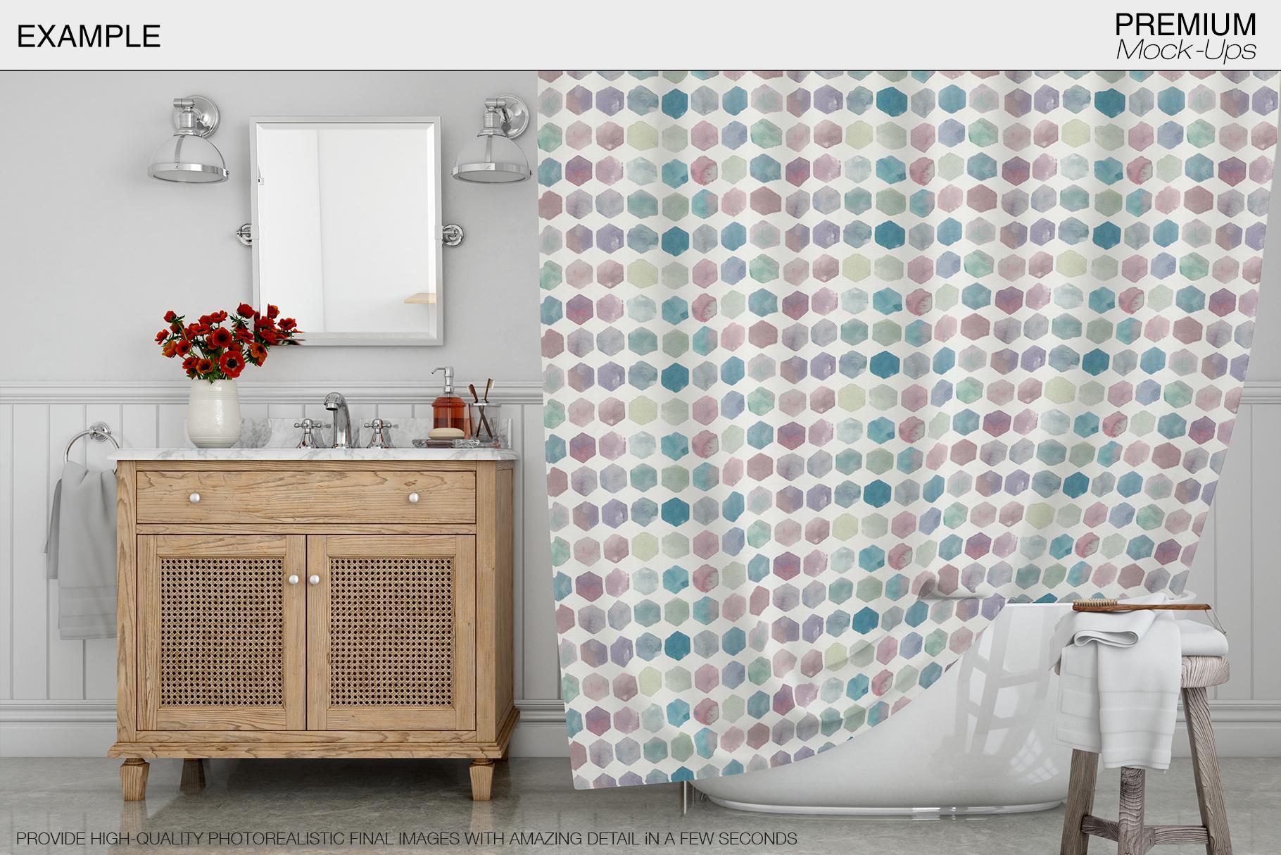 Bath Curtain Mockup Pack example image 19
