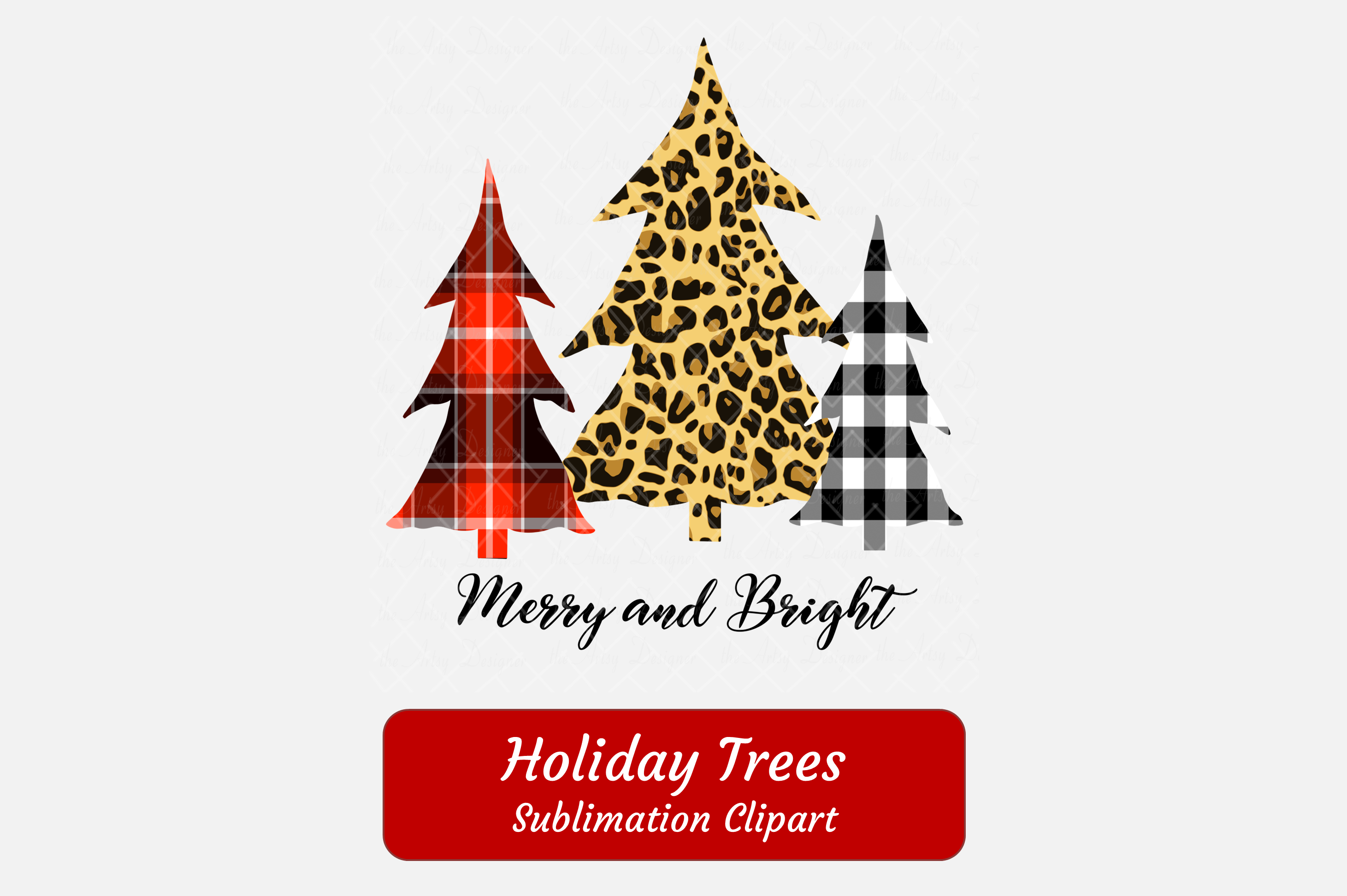 Merry and Bright Plaid Leopard Print Christmas Trees ClipArt example image 2