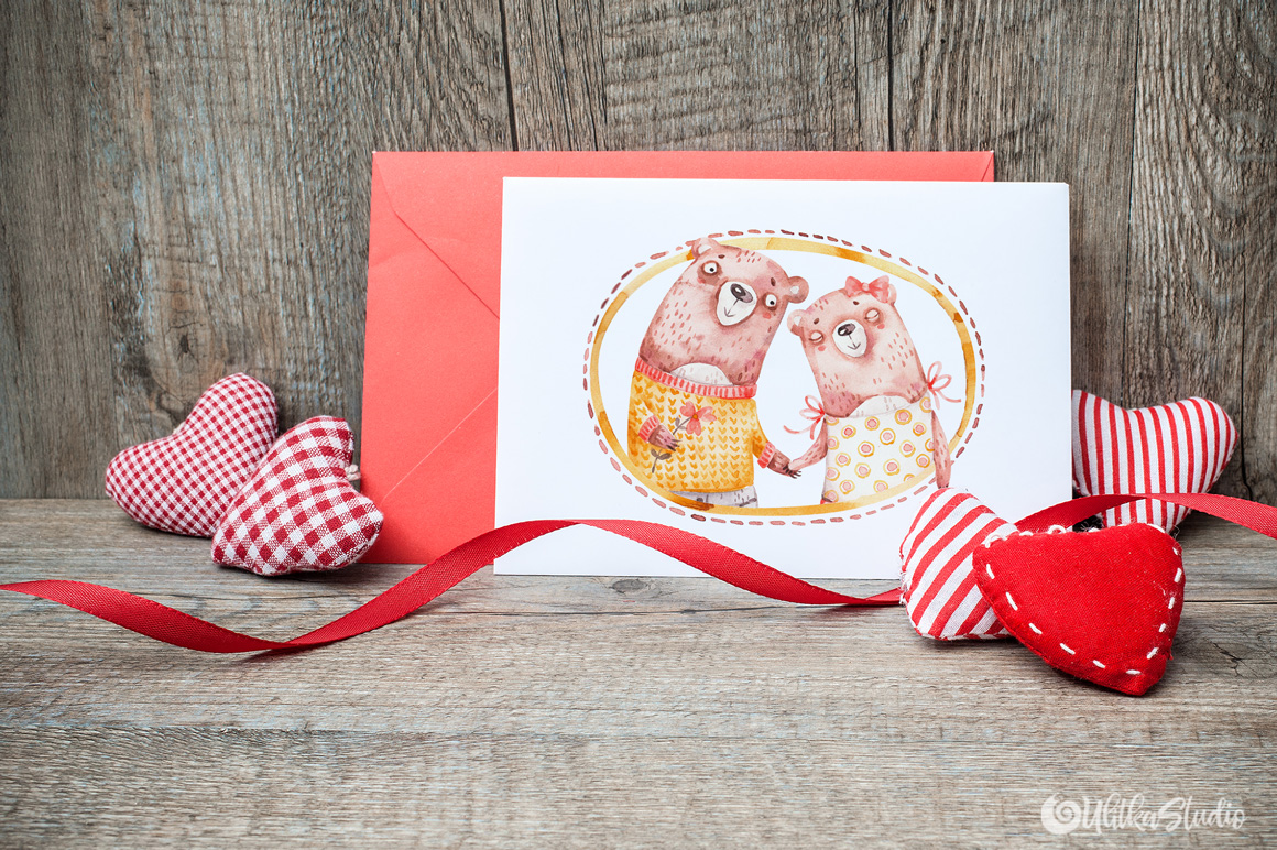 Cozy Valentines Day. Lovely bears watercolor collection example image 16