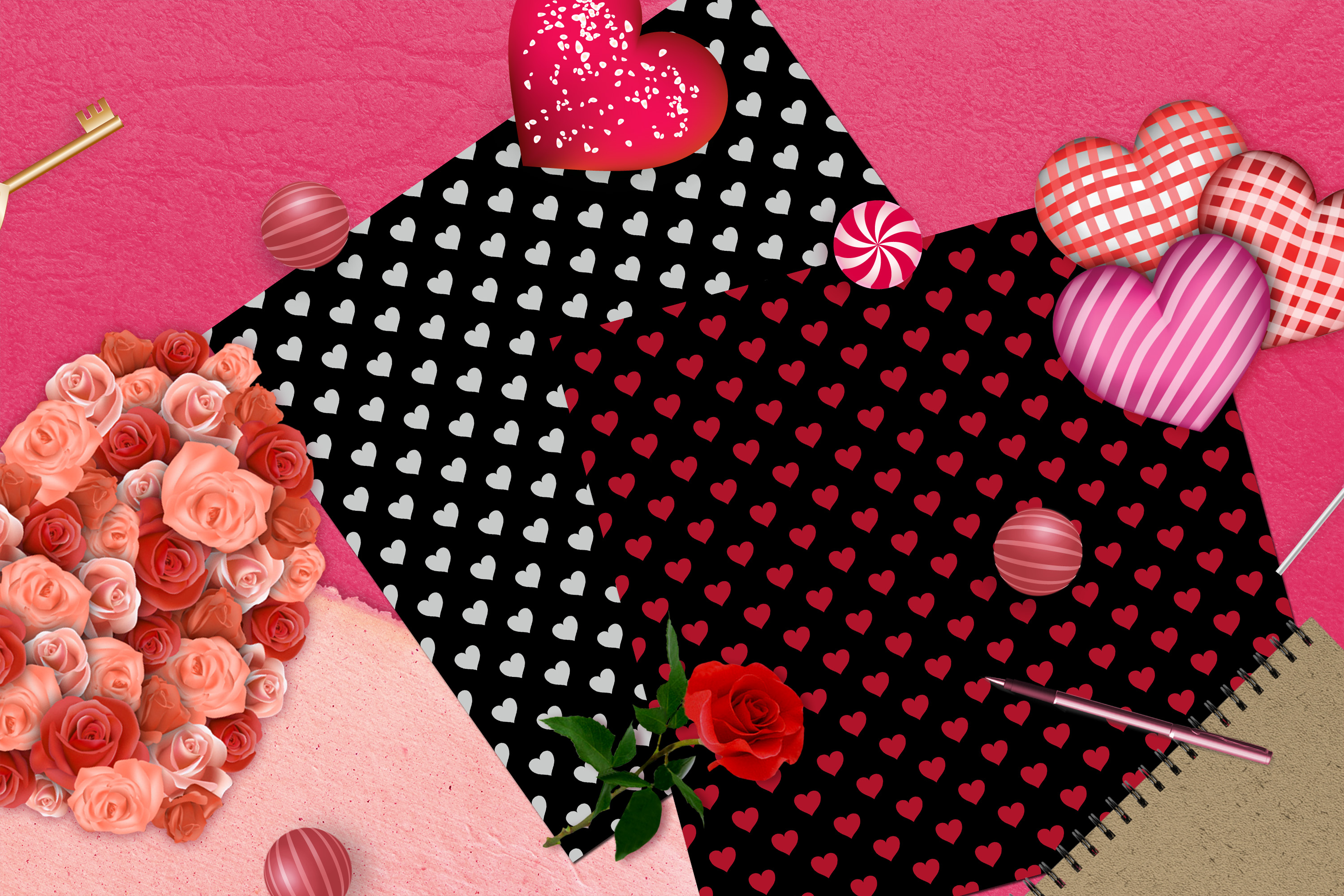 100 Seamless Black and Solid Heart Valentine Digital Papers example image 7
