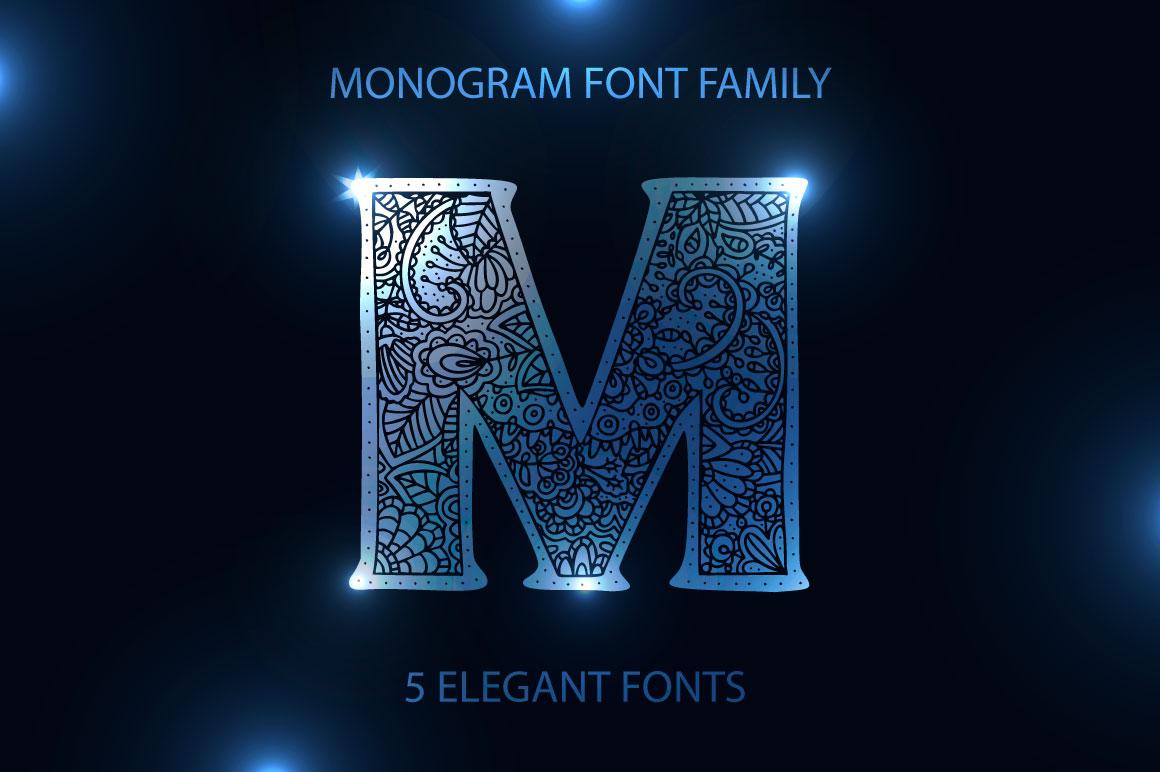 Monogram. 5 elegant fonts. example image 1