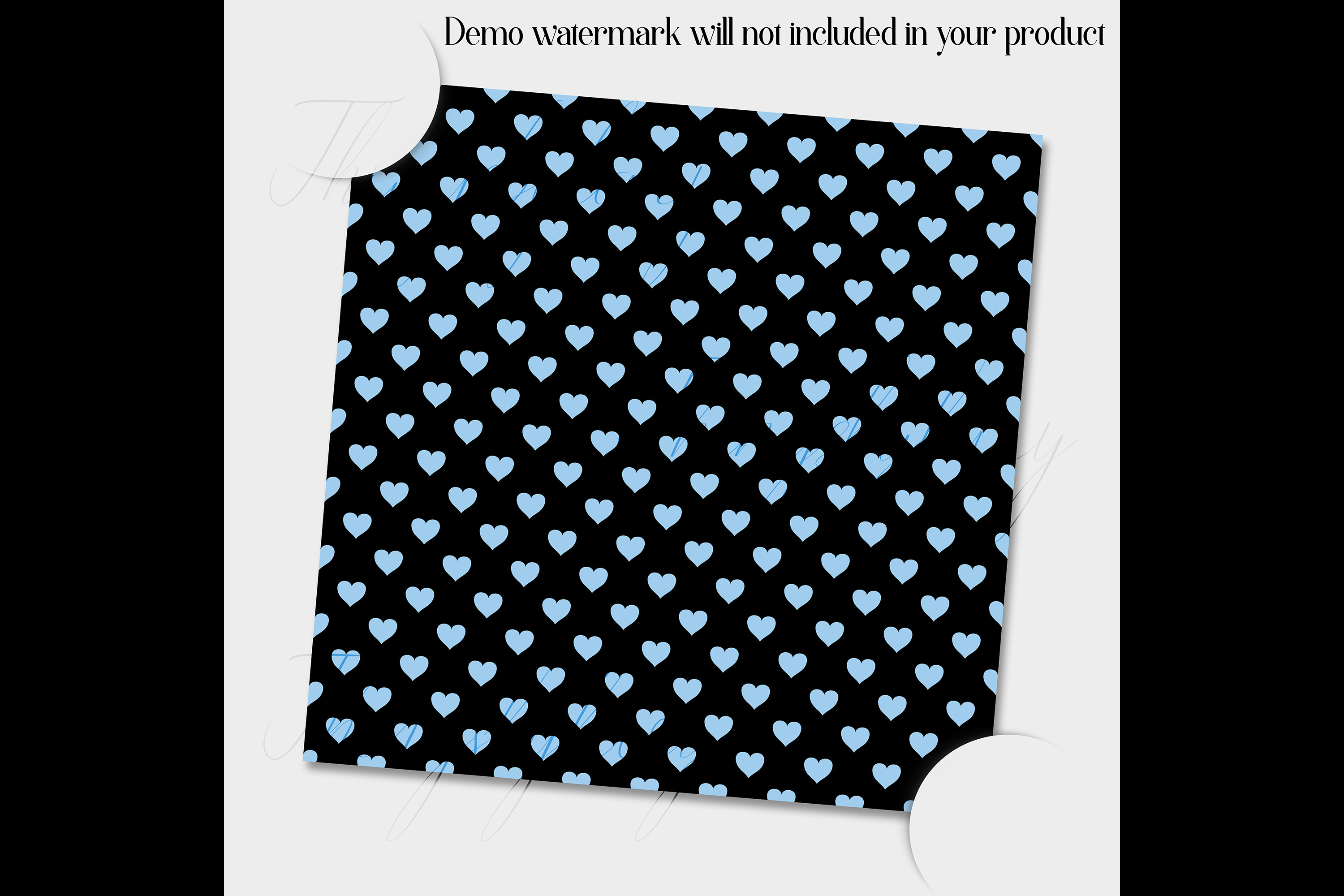 100 Seamless Black and Solid Heart Valentine Digital Papers example image 3