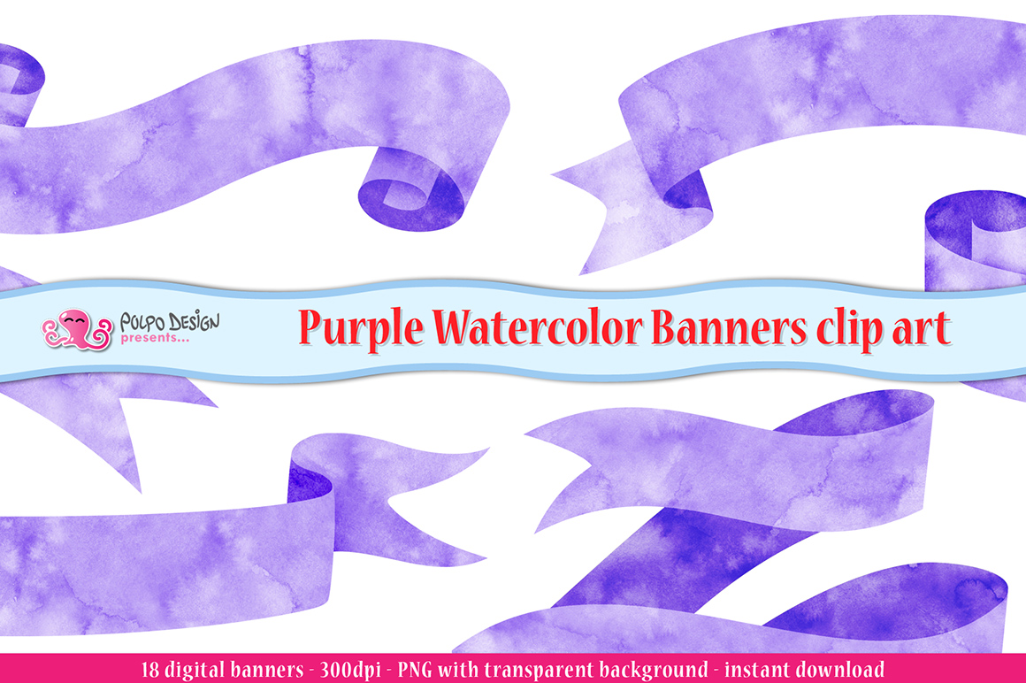 Purple Watercolor Banner clip art example image 1