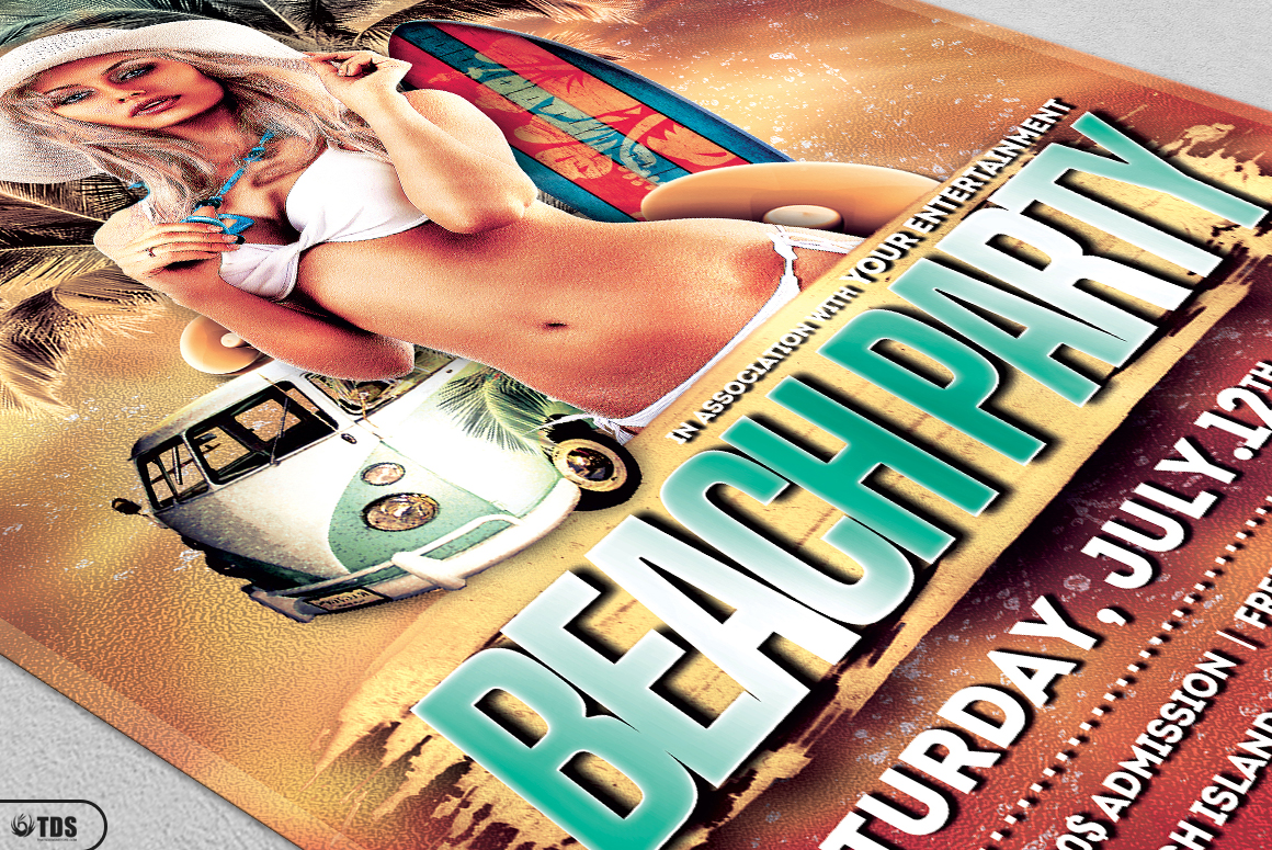 Beach Party Flyer Template V1 example image 5