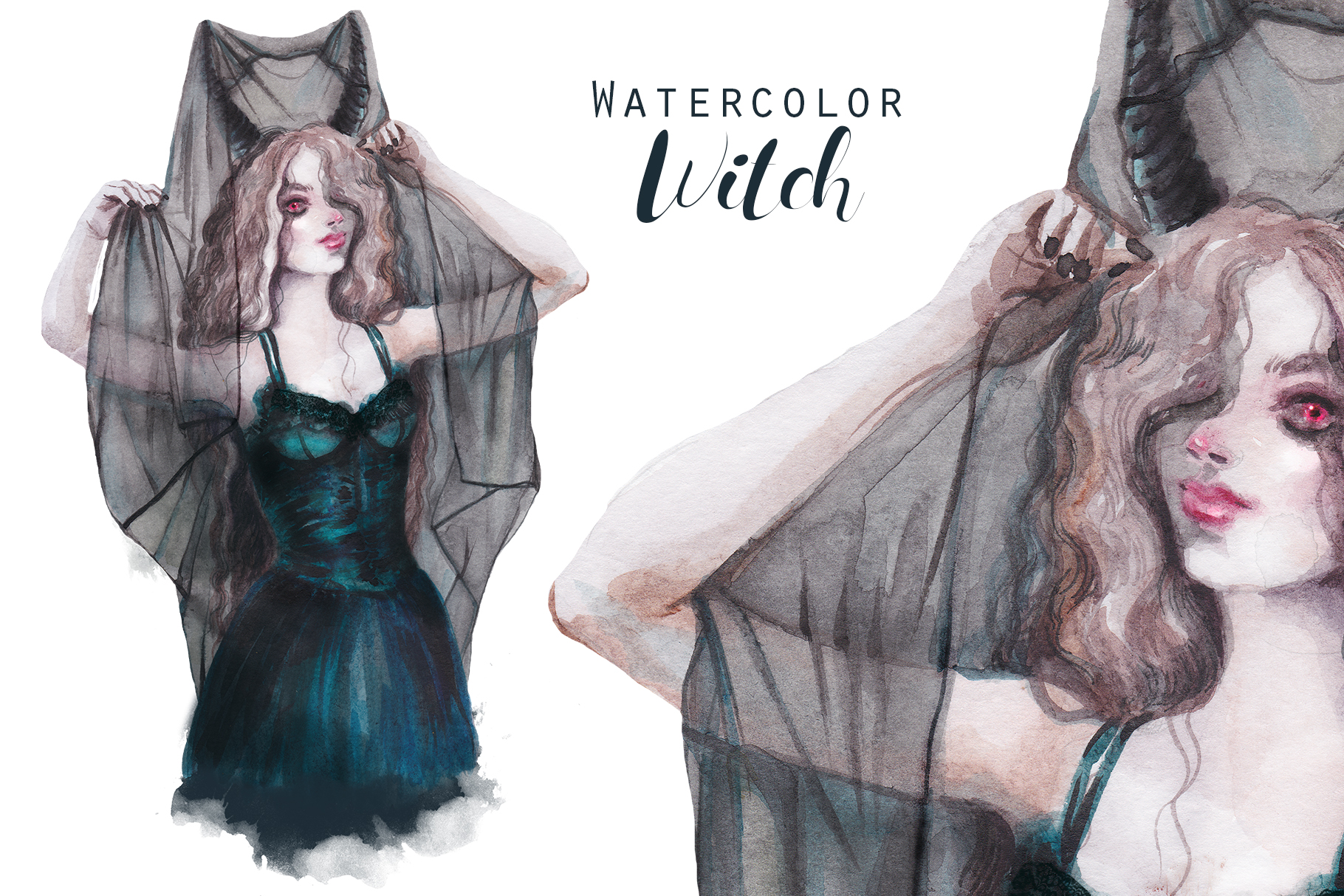 Halloween Witch with veil and red eyes ,watercolor portrait example image 1