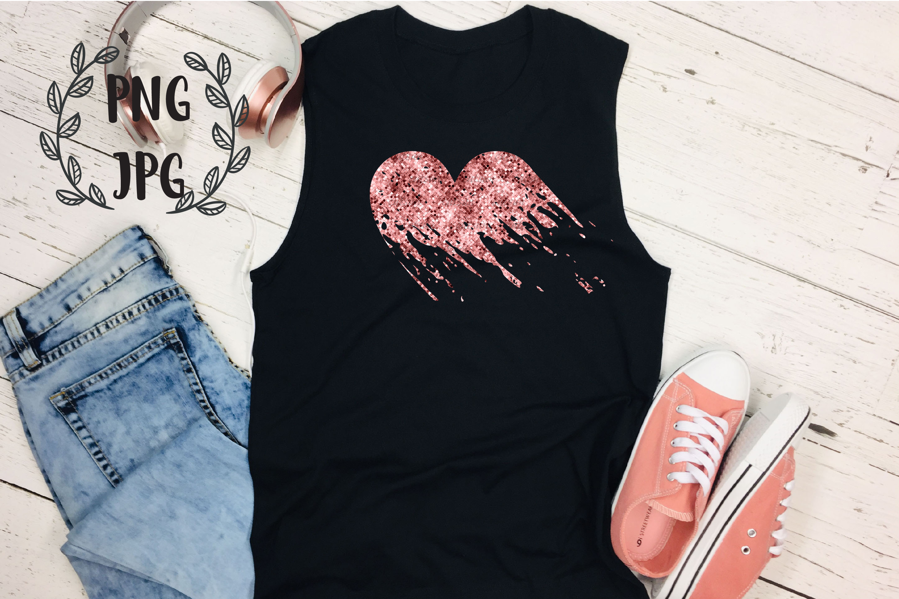 Rose Gold Distressed Heart sublimation design example image 4