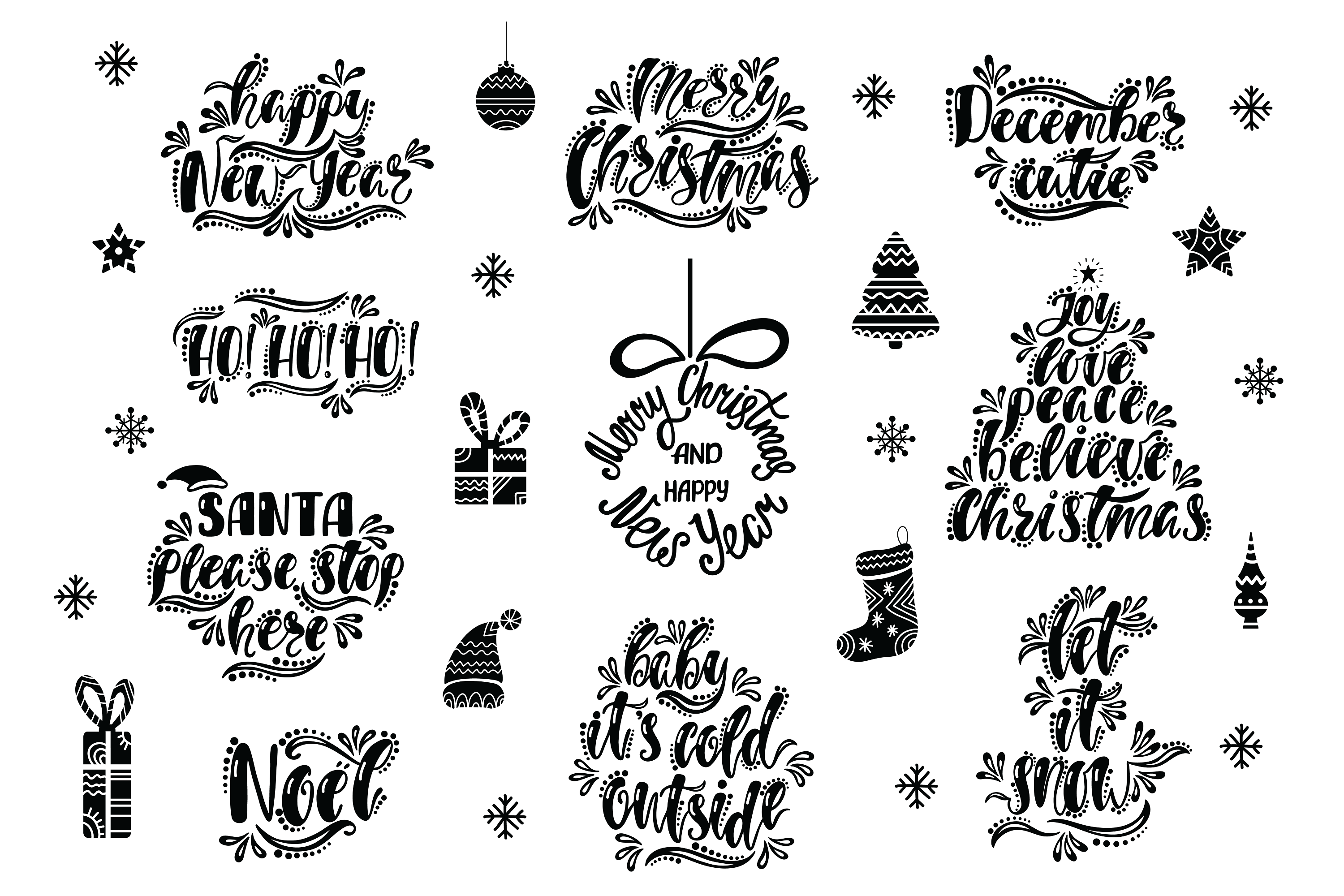 Christmas SVG Bundle. Holiday vector clipart. Cutting Files. example image 4