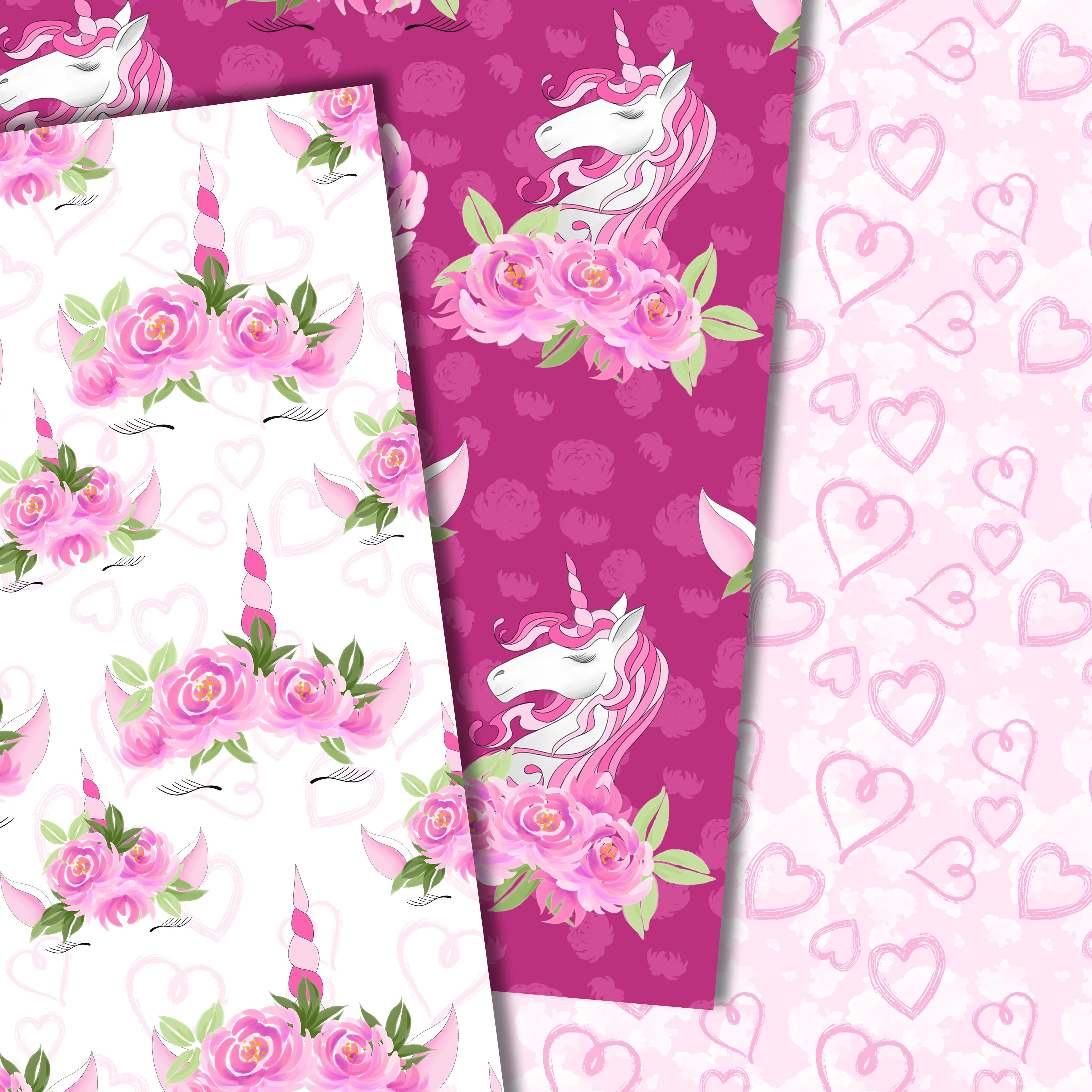 Unicorns and flowers in pink example image 2