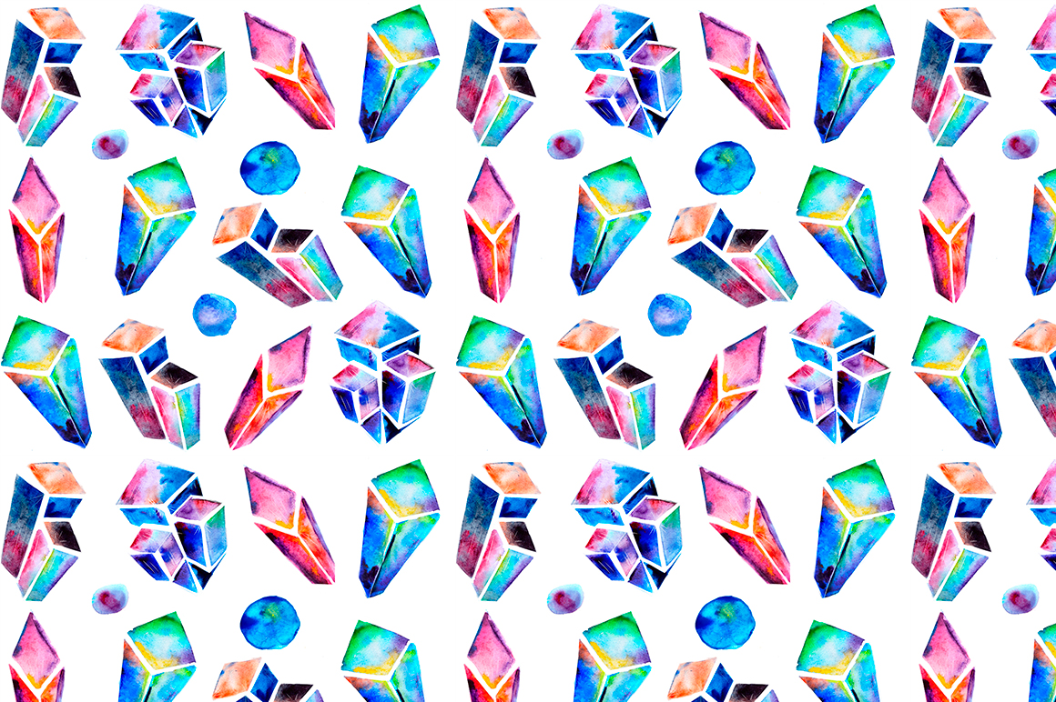 Watercolor crystals patterns example image 7