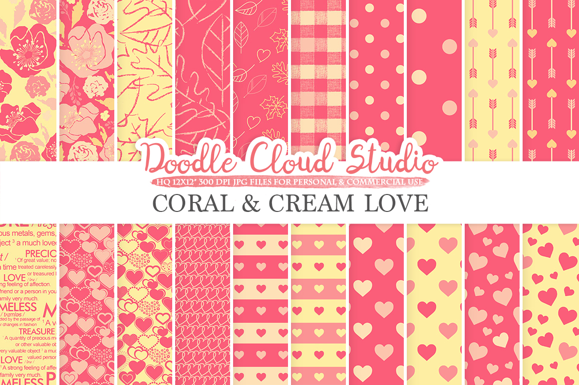 Coral and Cream Romantic digital paper, Valentine's day patterns,  Love, Roses, Romance Heart backgrounds for Personal & Commercial Use example image 1