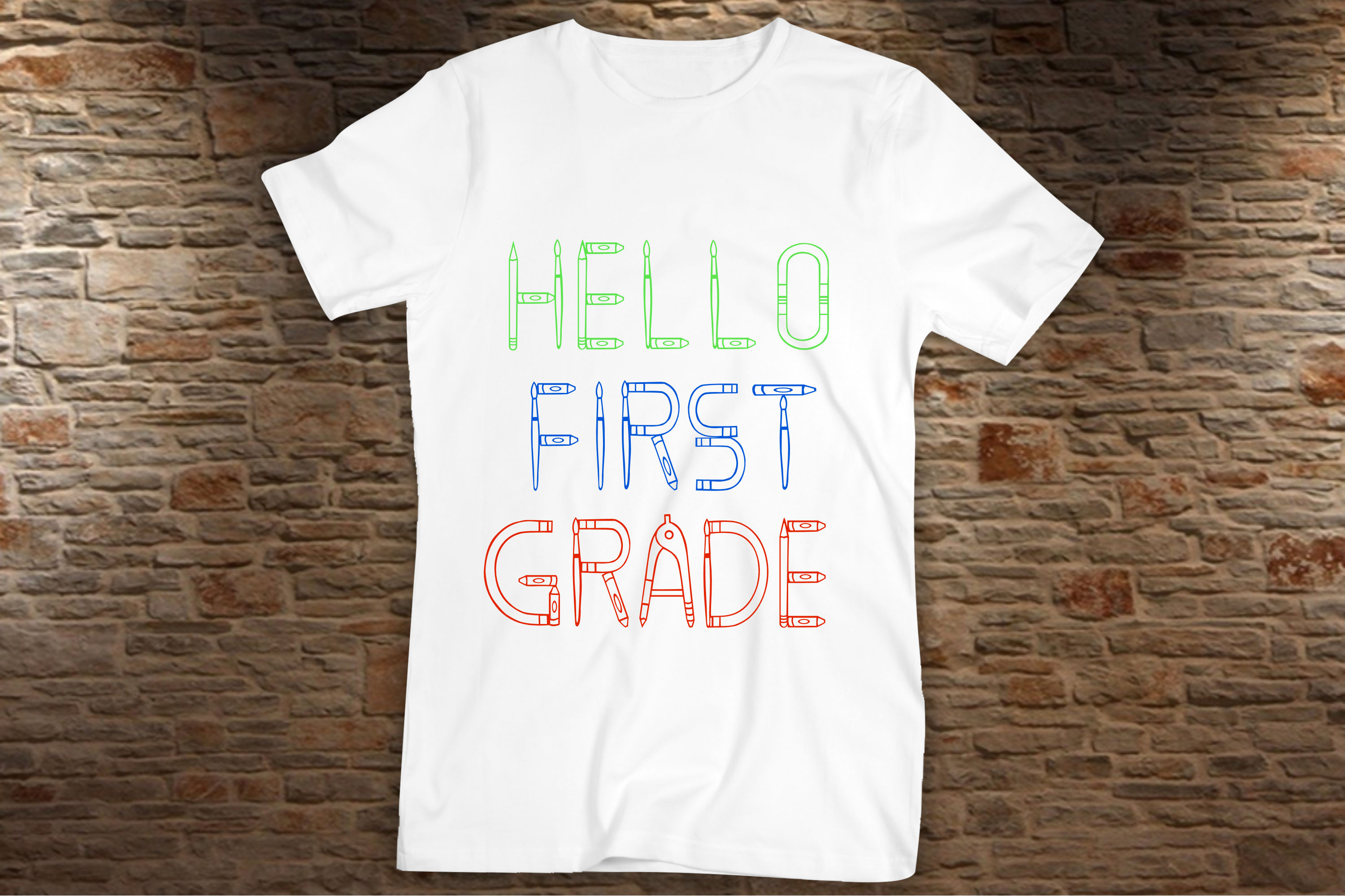 Elementary School - A filled and hollow school font example image 6