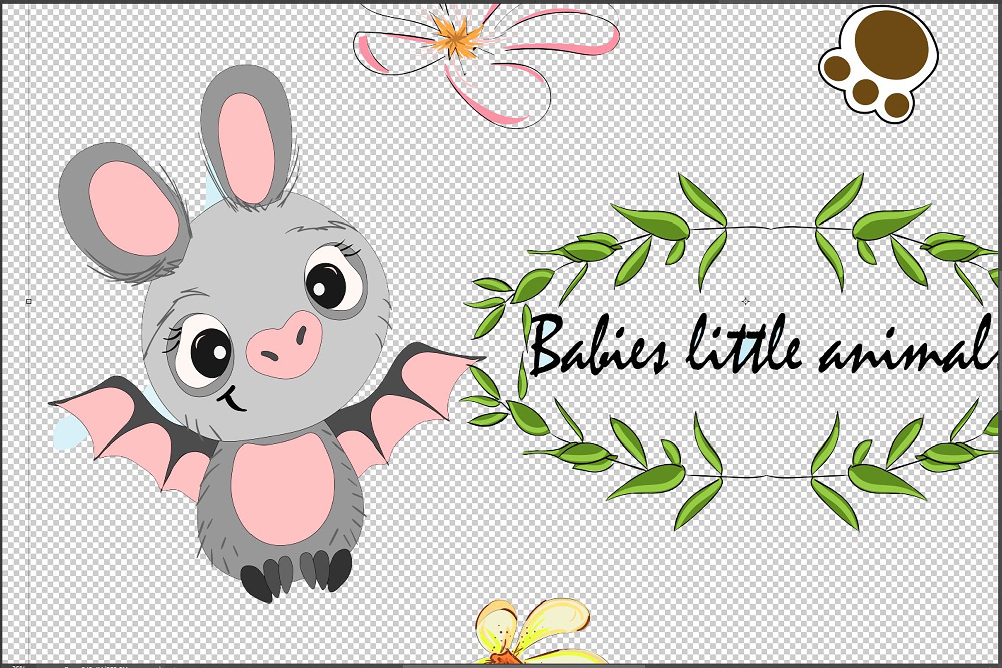 Set of cute funny little animals clipart example image 4