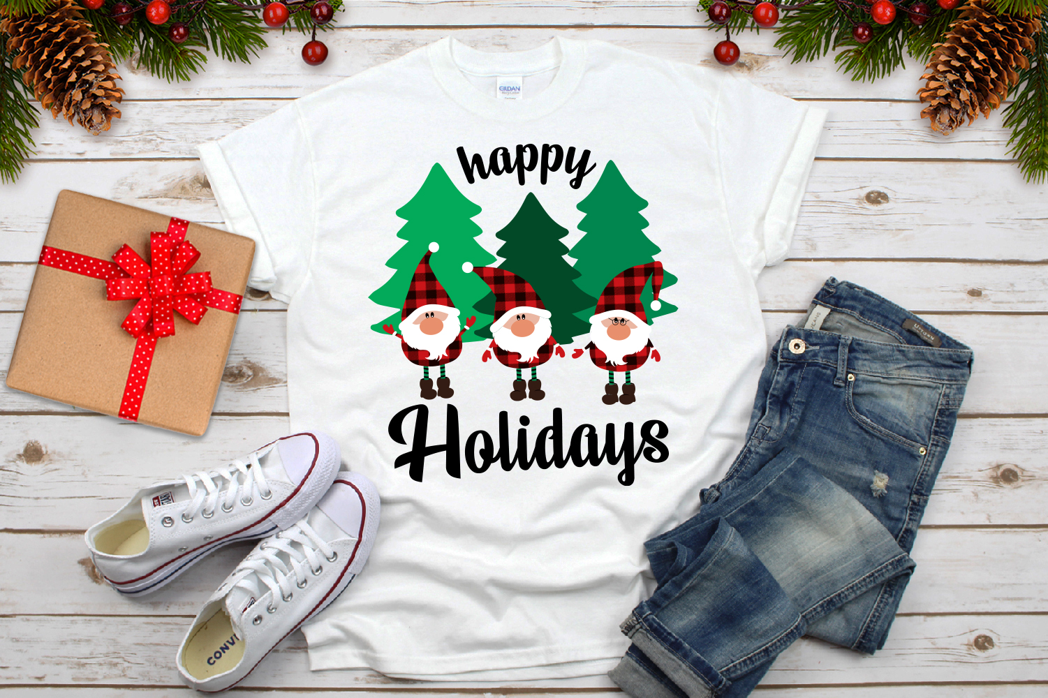 Happy Holidays Svg, Gnomies Buffalo Plaid Svg example image 4