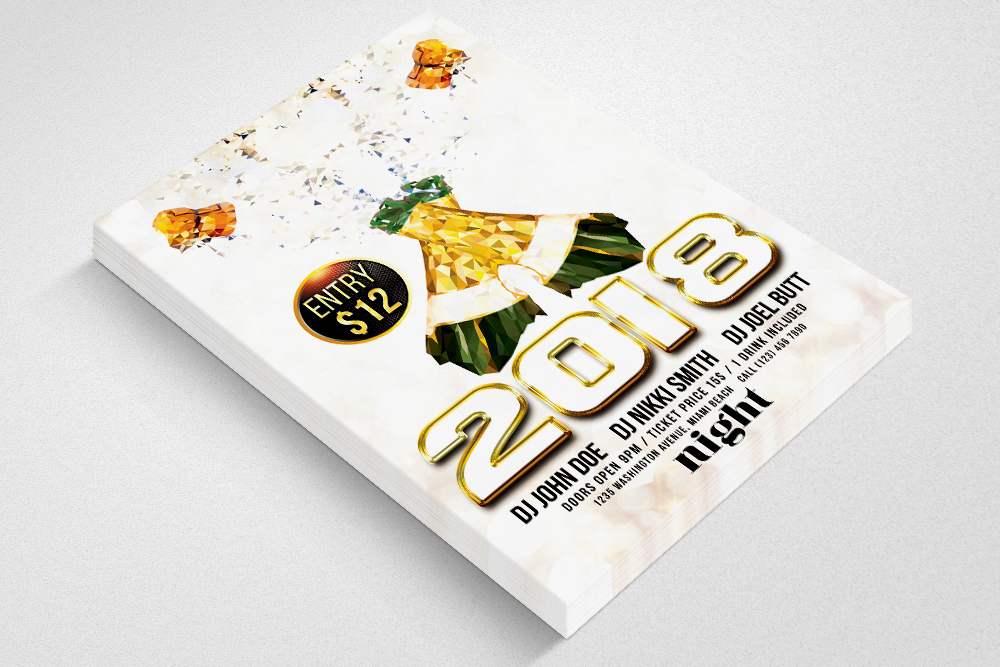 New Year Flyer Psd Templates example image 2