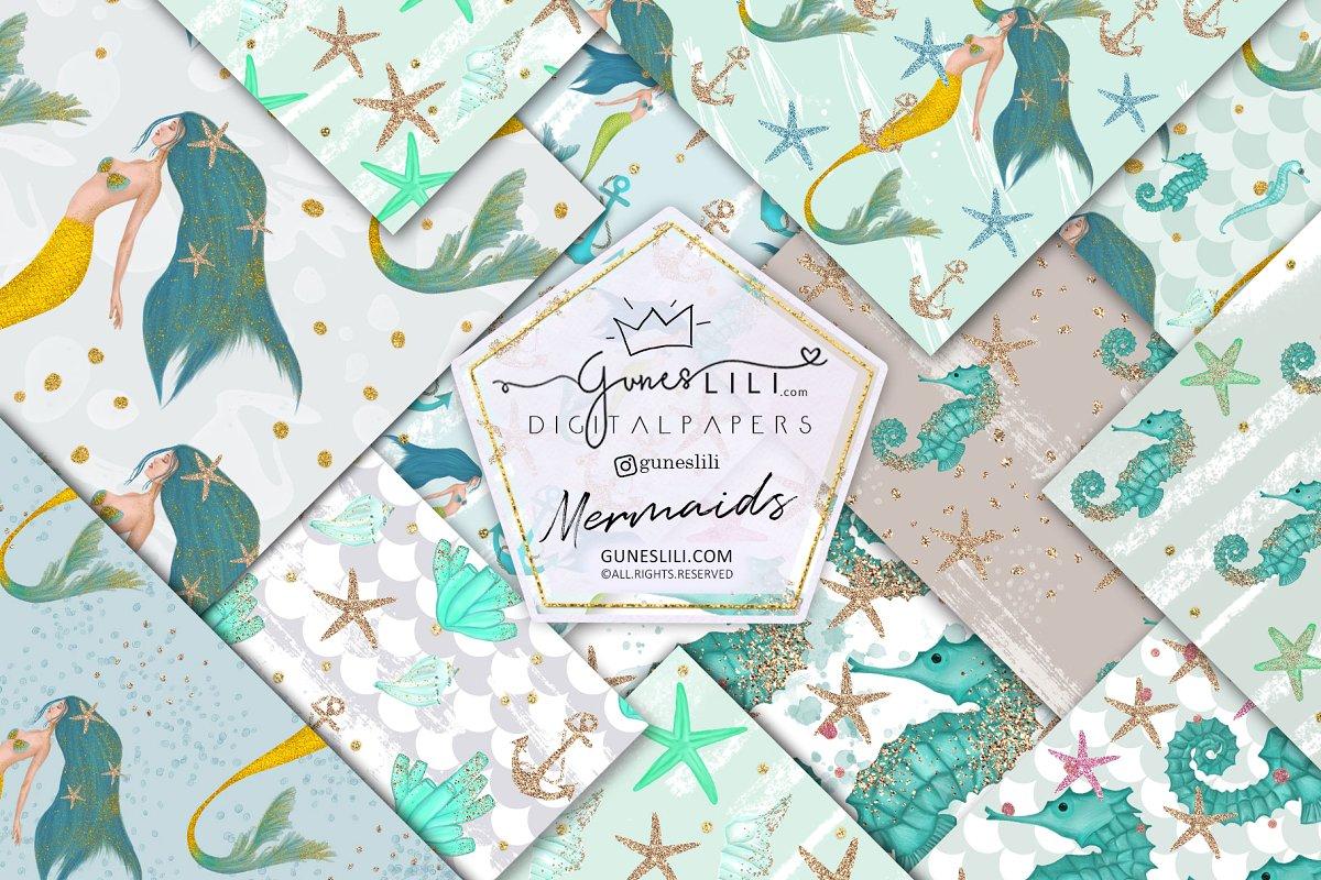 Blue Mermaid Digital Paper Pattern Summer Fashion Seamless example image 1