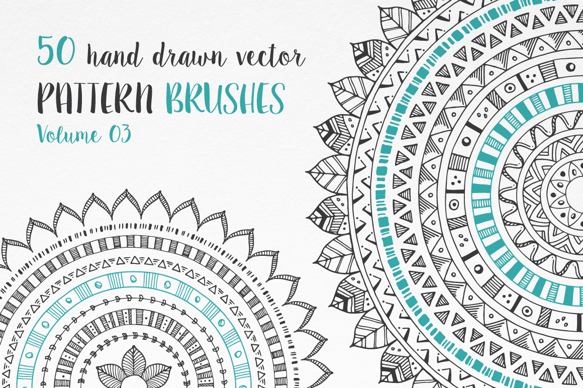 Hand Drawn Pattern Brushes Bundle - Volumes 01, 02 & 03 example image 14