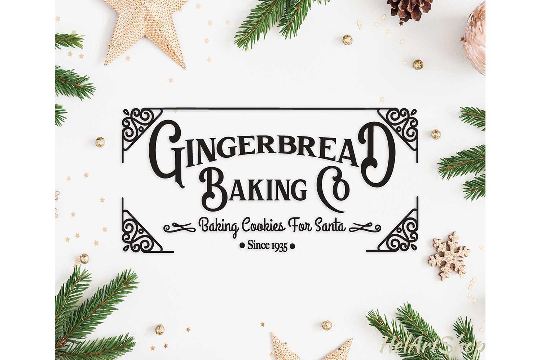 Gingerbread Baking Co Vintage Christmas Sign Svg Cut File