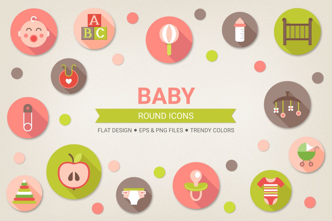 Round Baby Icons example image 1