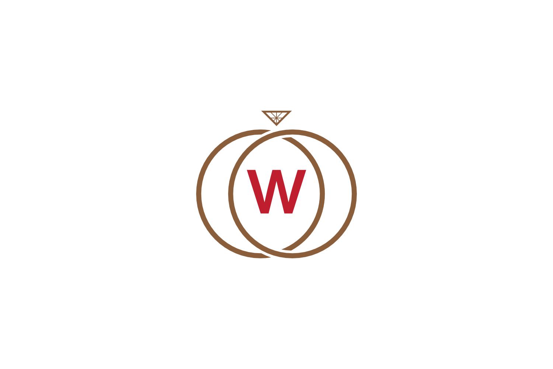 w letter ring diamond logo example image 1