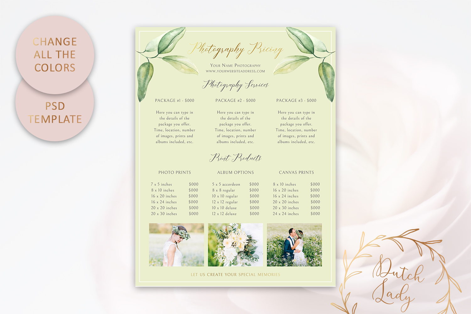 PSD Photography Pricing Guide Template Design #10 example image 4