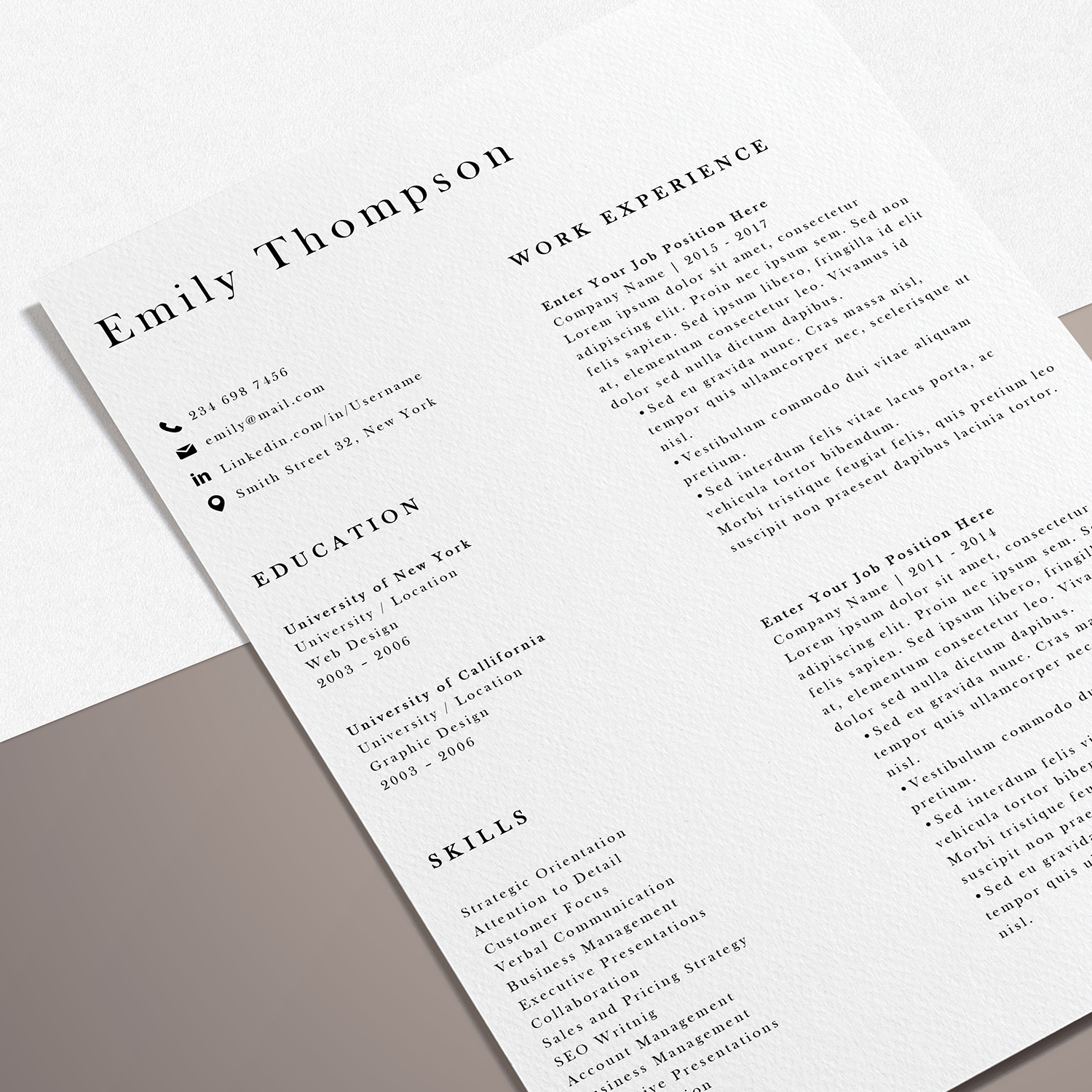 Resume Template | Photoshop CV Template - Emily example image 7